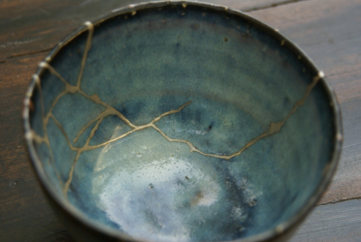 "Maybe you've heard of or seen Japanese pottery which has been repaired with gold, known as  Kintsugi    A whole philosophy exists behind this work.    "" The vicissitudes of existence over time, to which all humans are susceptible, could not be clearer than in the breaks, the knocks, and the shattering to which ceramic ware too is subject""."