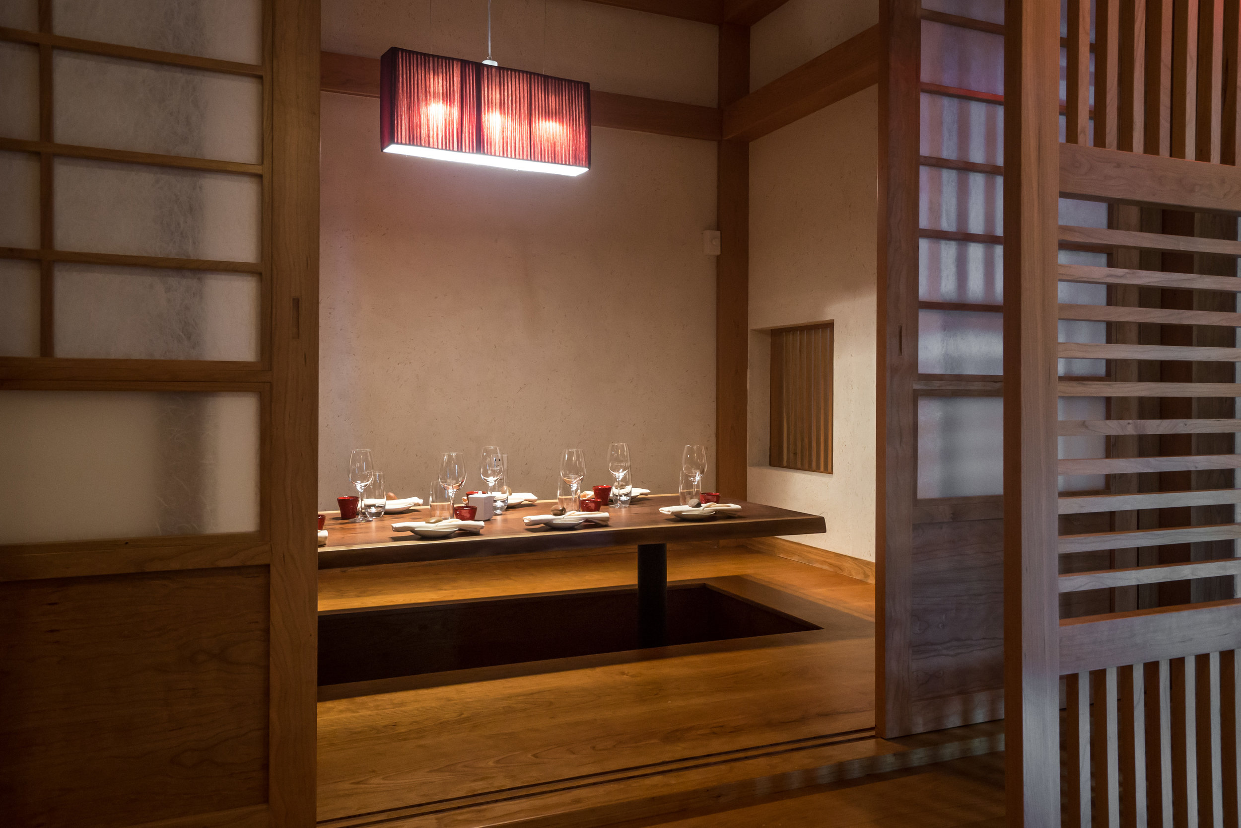 Tatami Rooms - Three Tatami Rooms are available which offer the utmost in privacy and seclusion. Independently they seat from 8-10 guests comfortably or can be combined for a total of 28 guests. Our special Omakase tasting menu is available in these Tatami Rooms.