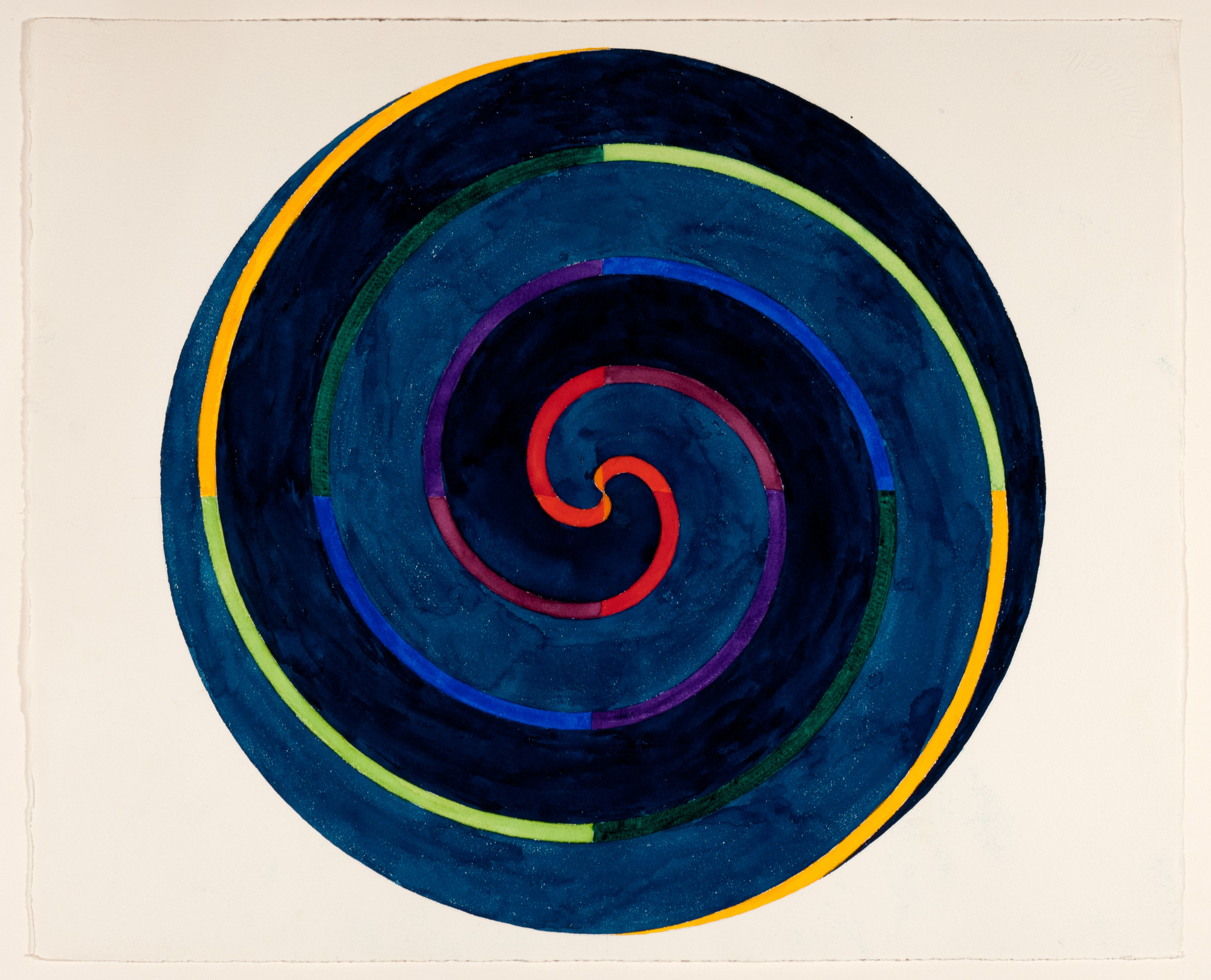 Paul Mogensen, no title (orange to yellow on prussian blue double spiral), 1975