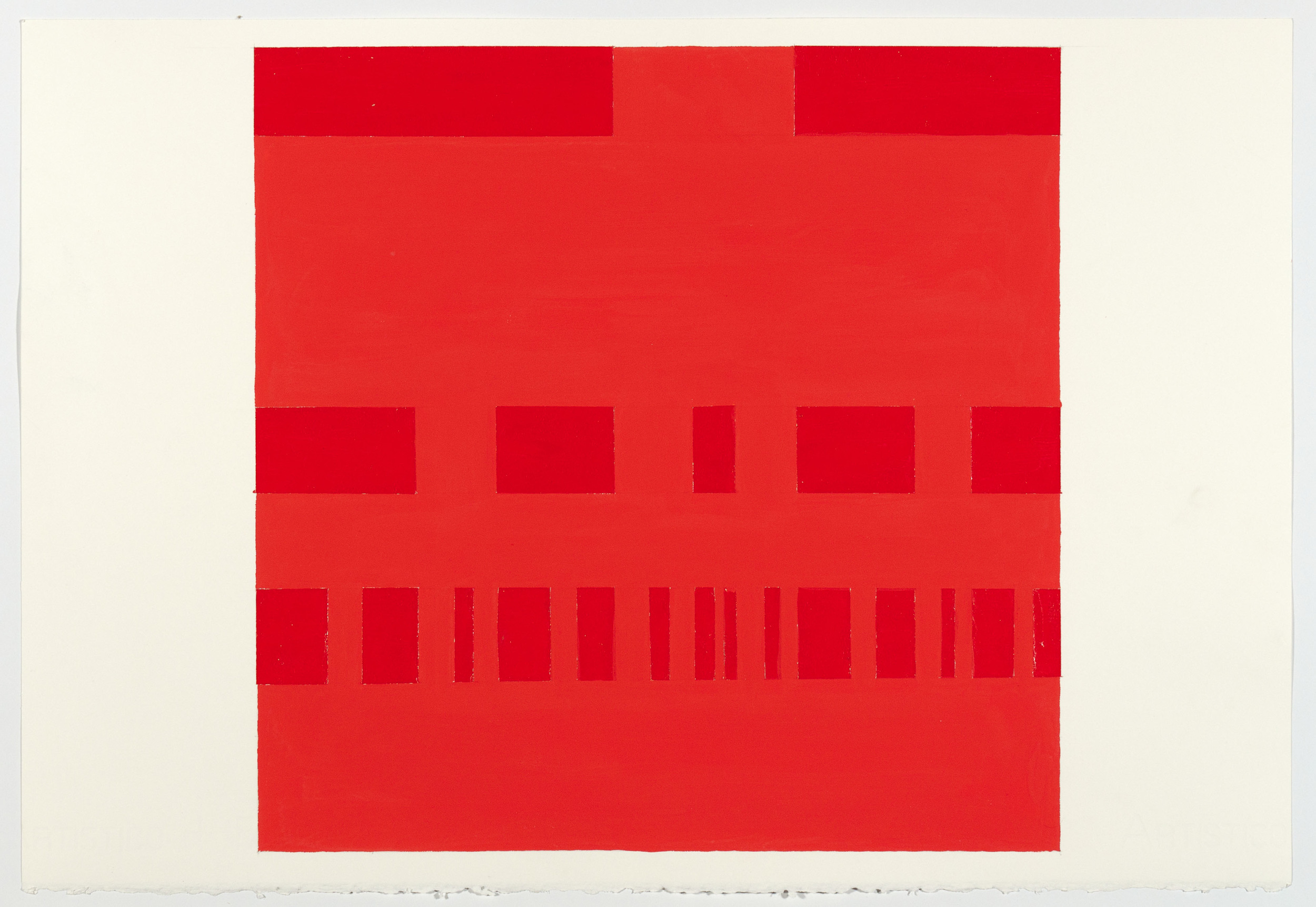 Paul Mogensen, no title, 3 rows-subdivided, 2012, Gloss cadmium red acrylic & gouache on paper, 15 1/4 x 22 inches, PMO1208  4/4  Lawrence Markey Inc.