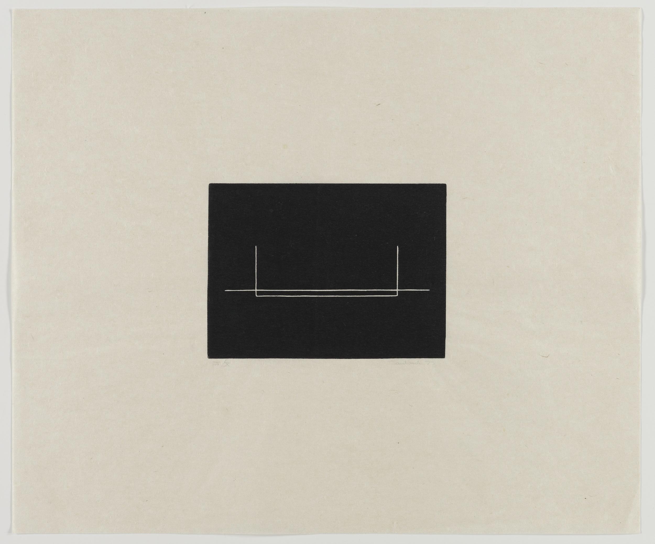 Fred Sandback, Untitled, 1975, Linocut on paper