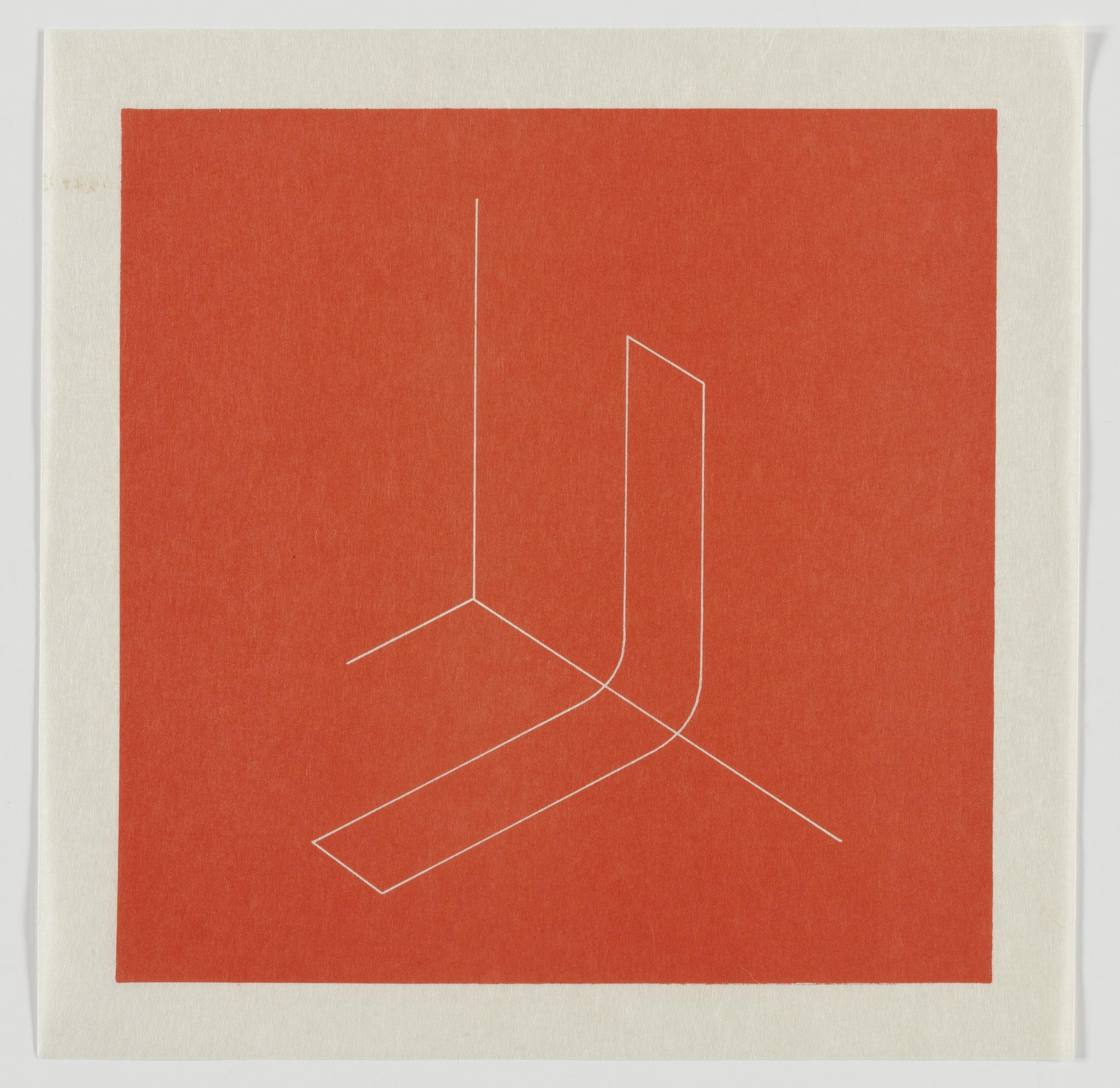 Fred Sandback, Untitled, 1979, Lithograph on Japanese paper, plate: 8 x 8, sheet: 9 1/2 x 9 1/2,FSA7905  Lawrence Markey Inc.  10/11