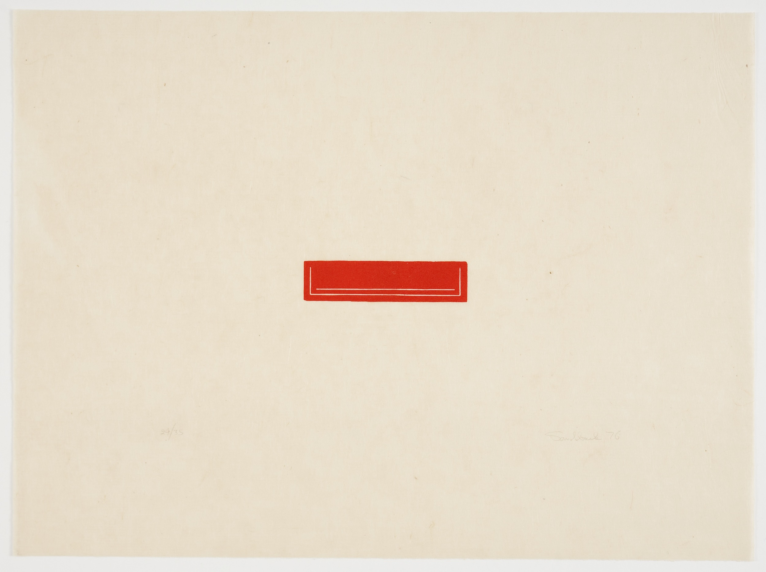 Fred Sandback, Untitled, 1976, Woodcut on Japanese paper