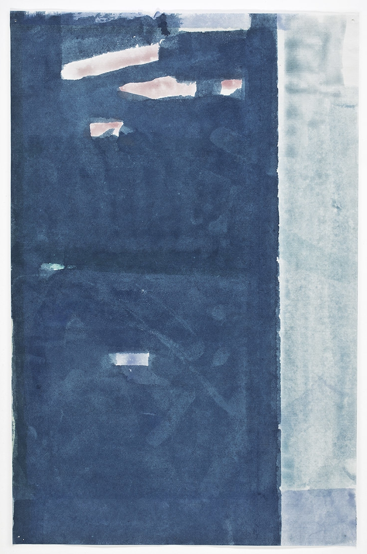 John Zurier, Untitled (Call), 2015, Watercolor on Korean paper, 13 9/16 x 8 7/8 inches, JZU1519  2/6  Lawrence Markey Inc.