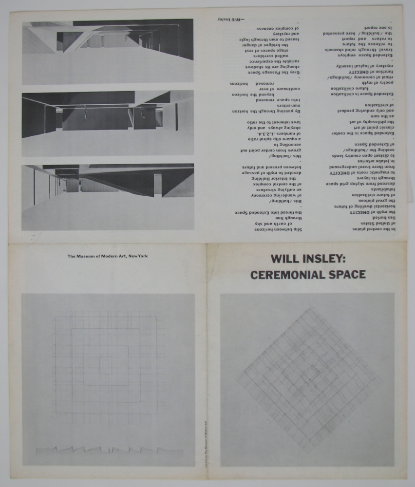 WILL INSLEY  Ceremonial Space  1971  Museum of Modern Art, NYC  (verso)