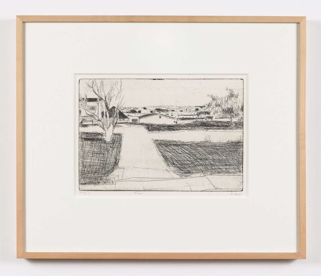 Richard Diebenkorn,  #32 from 41 Etchings and Drypoints Street Scene — Trees, Houses, Lawns , 1965, Edition of 25, Sheet: 18 x 14 3/4 inches, Plate: 7 3/4 x 11 3/4 inches, RDI6501  1/12  Lawrence Markey Inc.