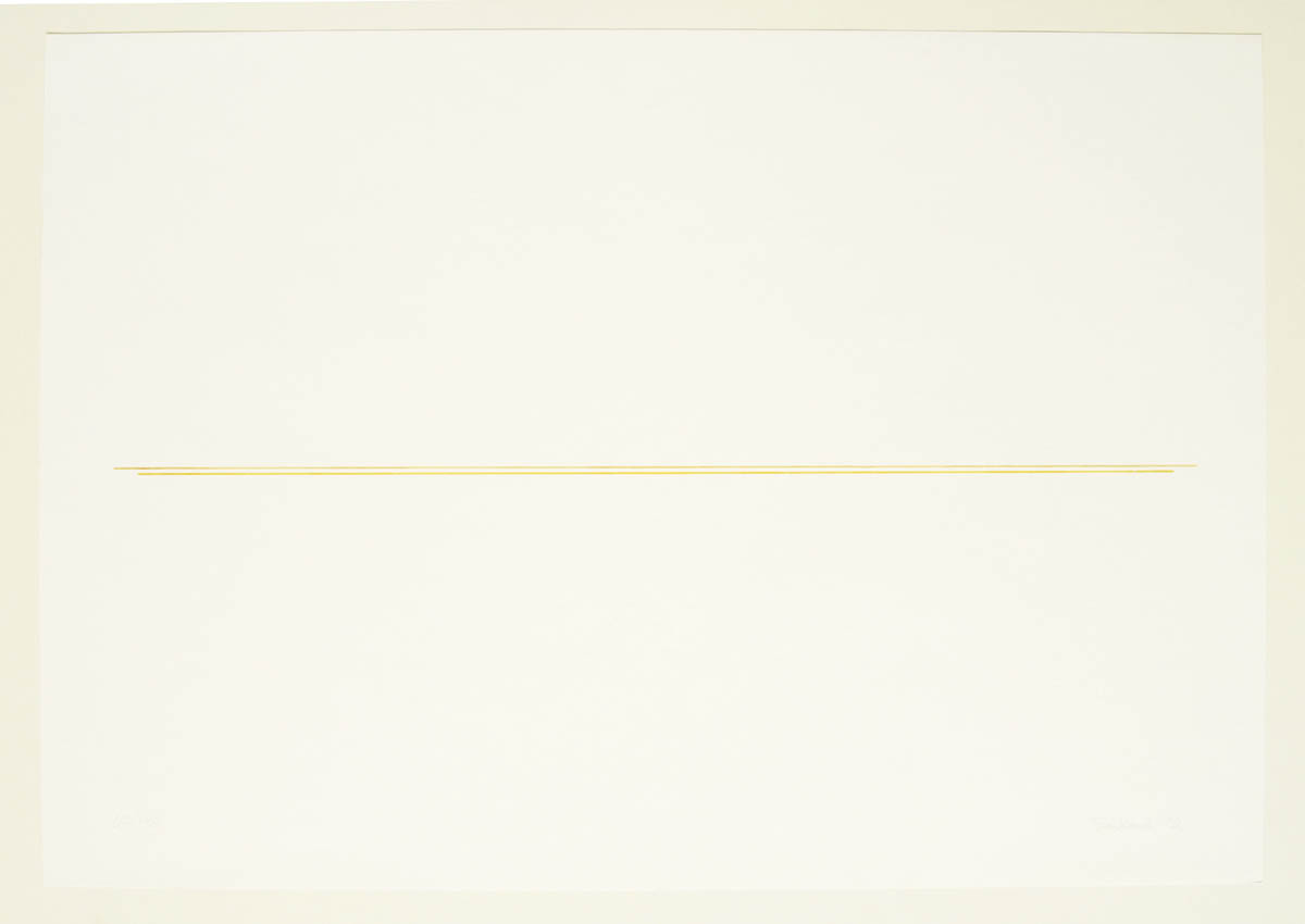 Fred Sandback, Untitled, 1972, Silkscreen on paper, ed.180, 17 5/8 x 25 1/2 inches, FSA7204  8/12  Lawrence Markey Inc.