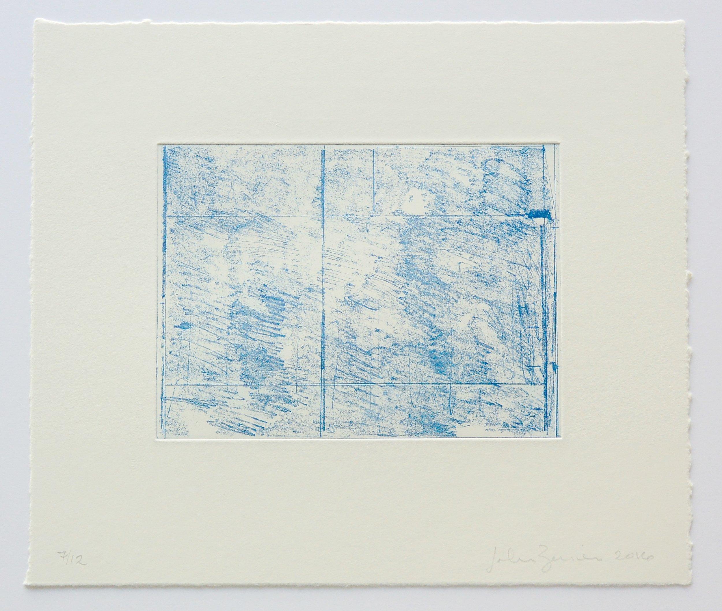 John Zurier,  Blue Horizontal , 2016, Soft ground etching, ed.12, sheet: 11 x 12 3/4 inches; image: 5 3/4 x 7 3/4 inches, JZU1608  10/12  Lawrence Markey Inc.