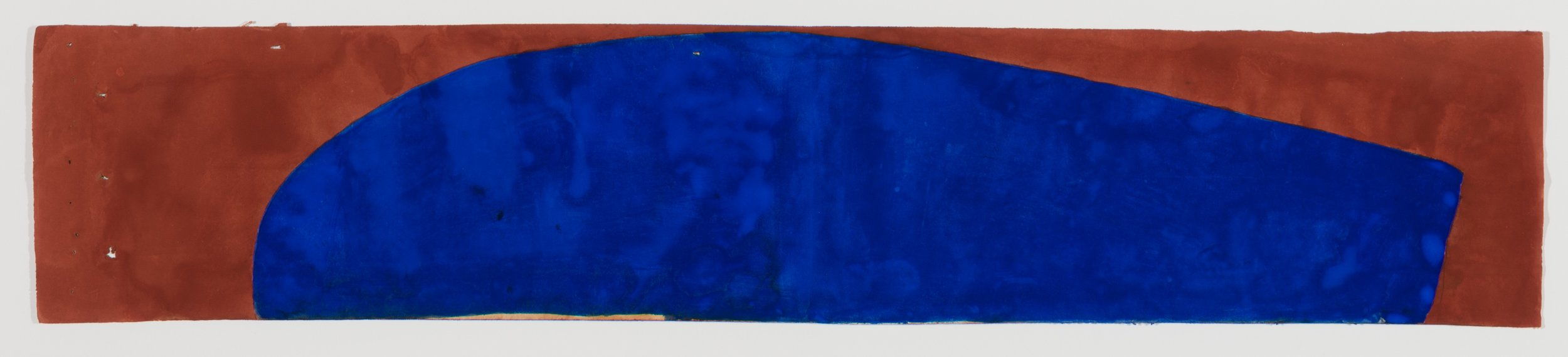 Suzan Frecon,  ultraturqterras , 2016, Watercolor on agate-burnished old Indian ledger paper, 5 1/4 x 26 3/4 inches, SFR1601  Lawrence Markey Inc.  2/6