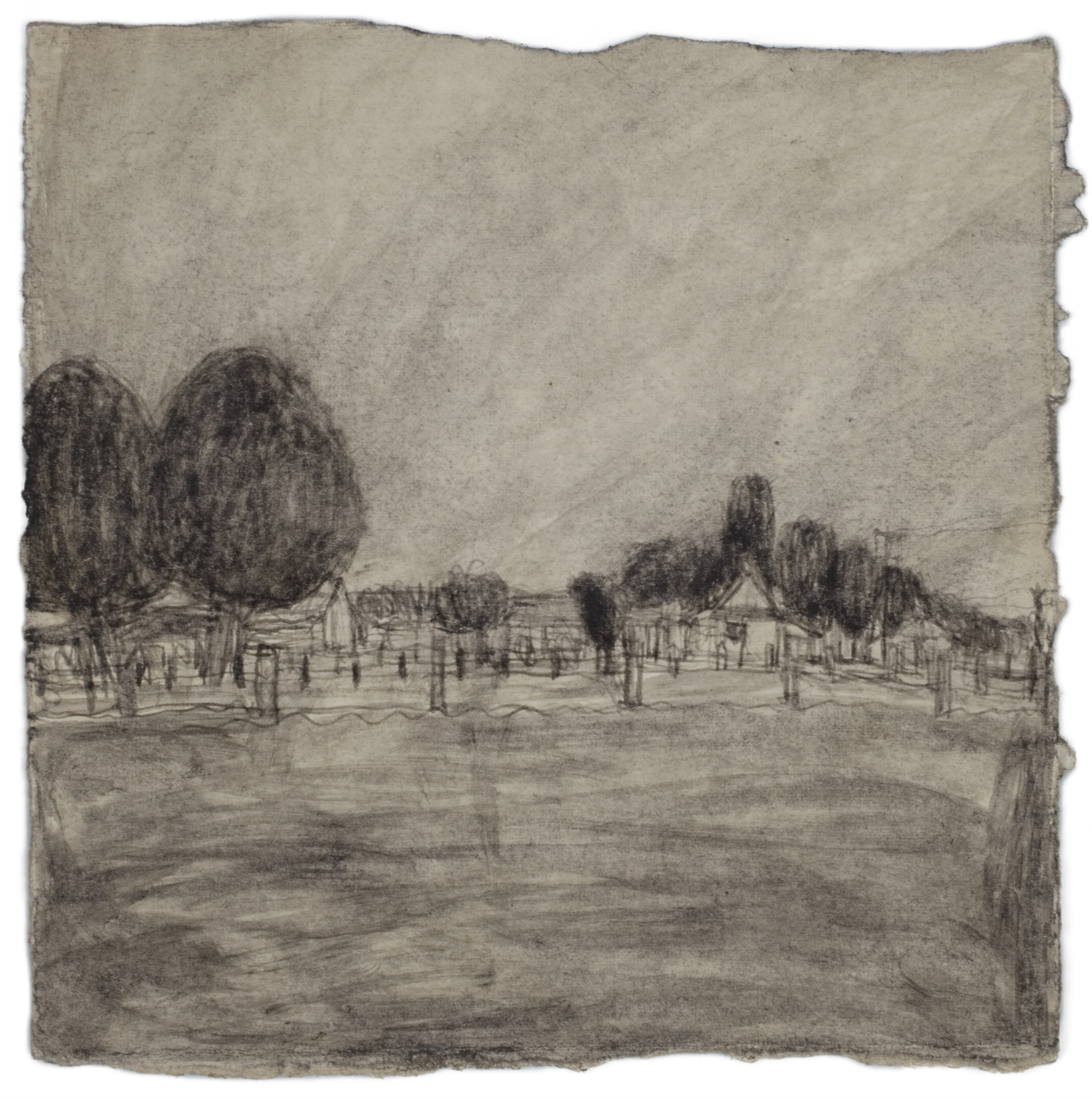 James Castle, Untitled (two sided drawing), Soot on paper