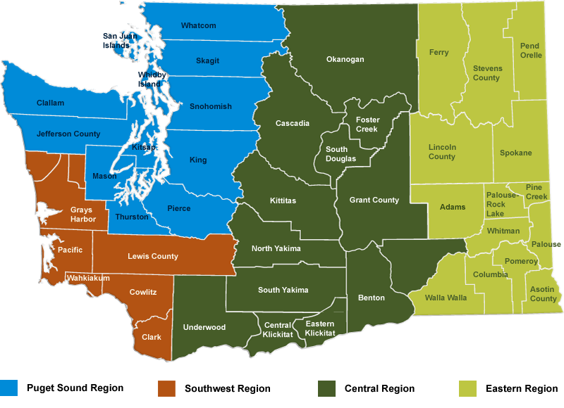 The conservation districts of Washington State.