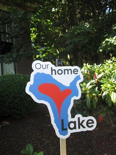 I Love Lake yard sign.