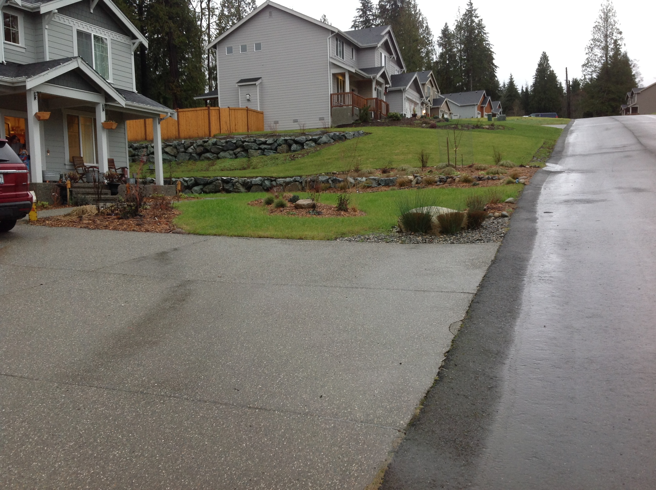 Photo showing progress after installation- no more muddy run-off