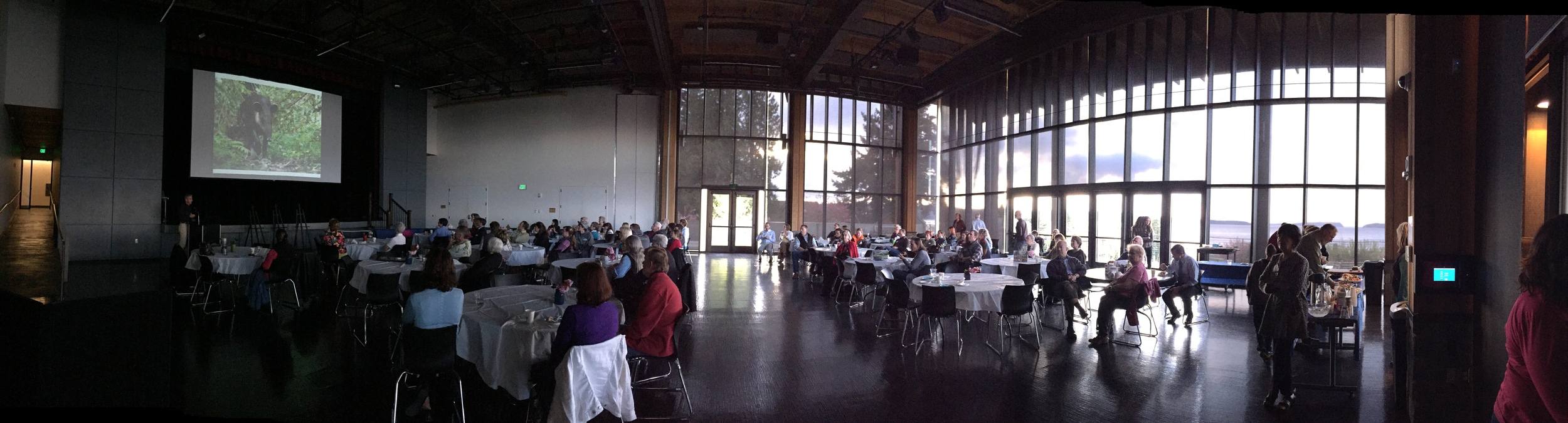 Panoramic photo of Better Ground Showcase venue with attendees.