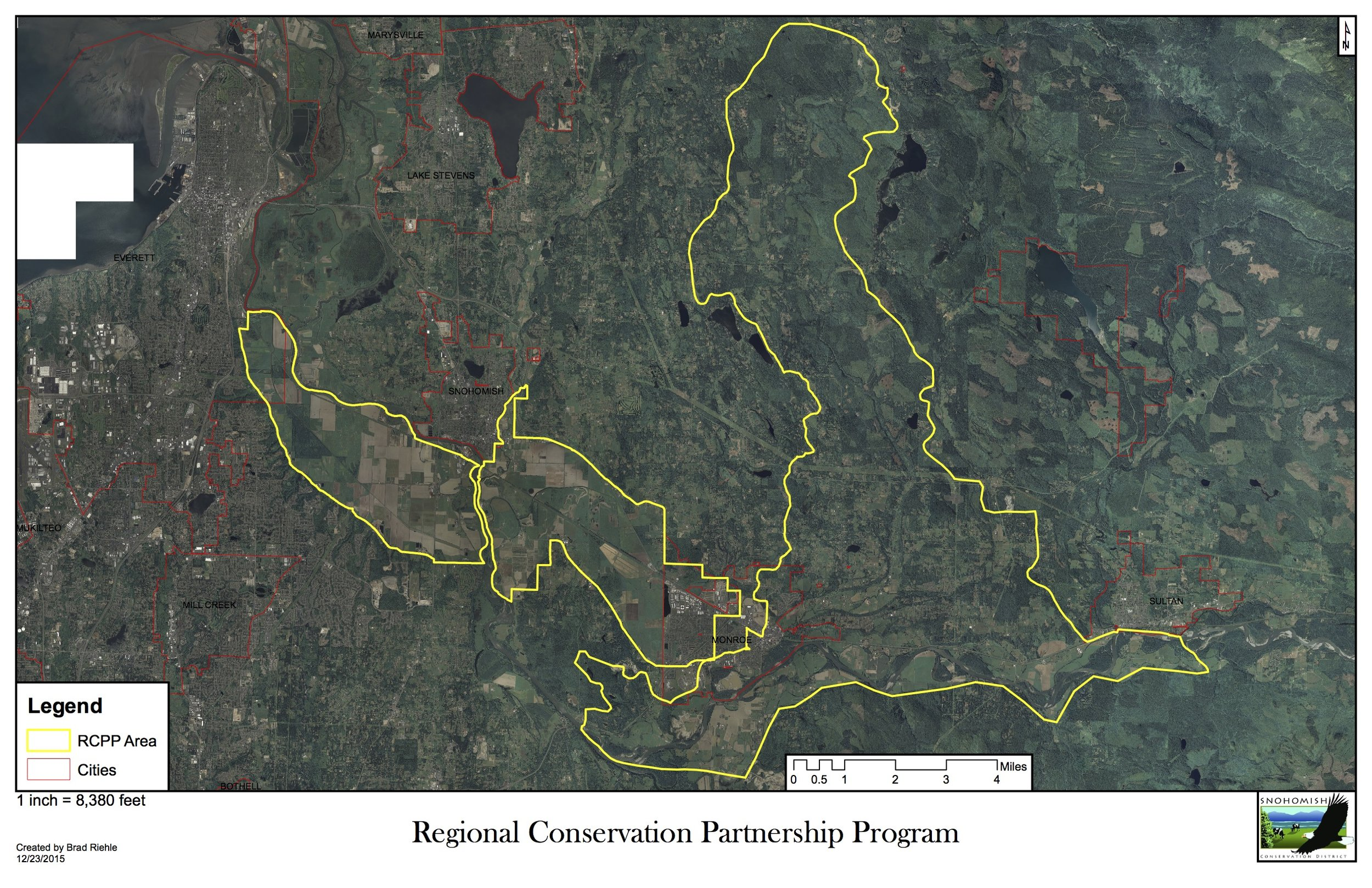 The Snohomish River Watershed target areas for the RCPP program.