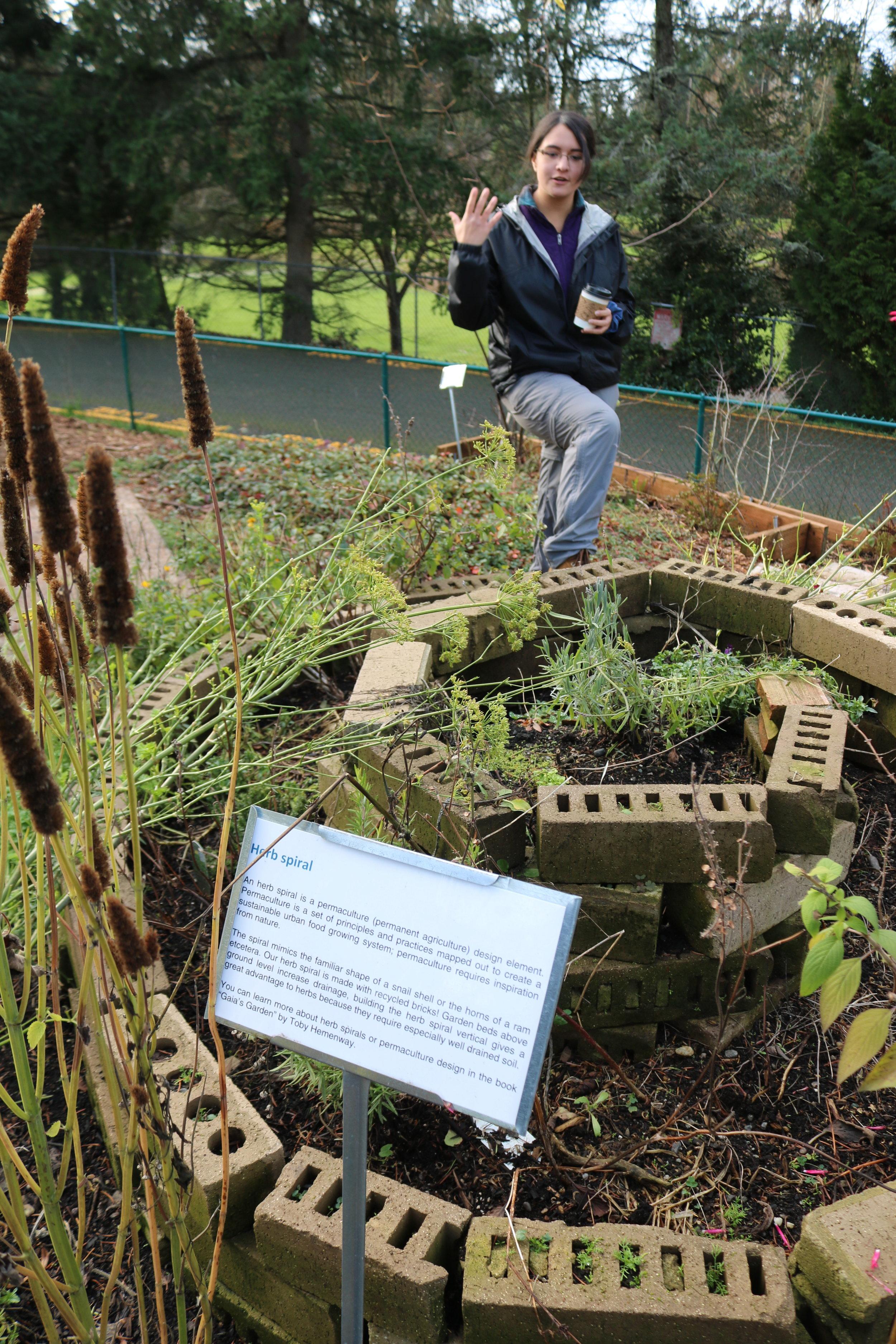 Lia andrews explaining the herb spiral (vertical garden)