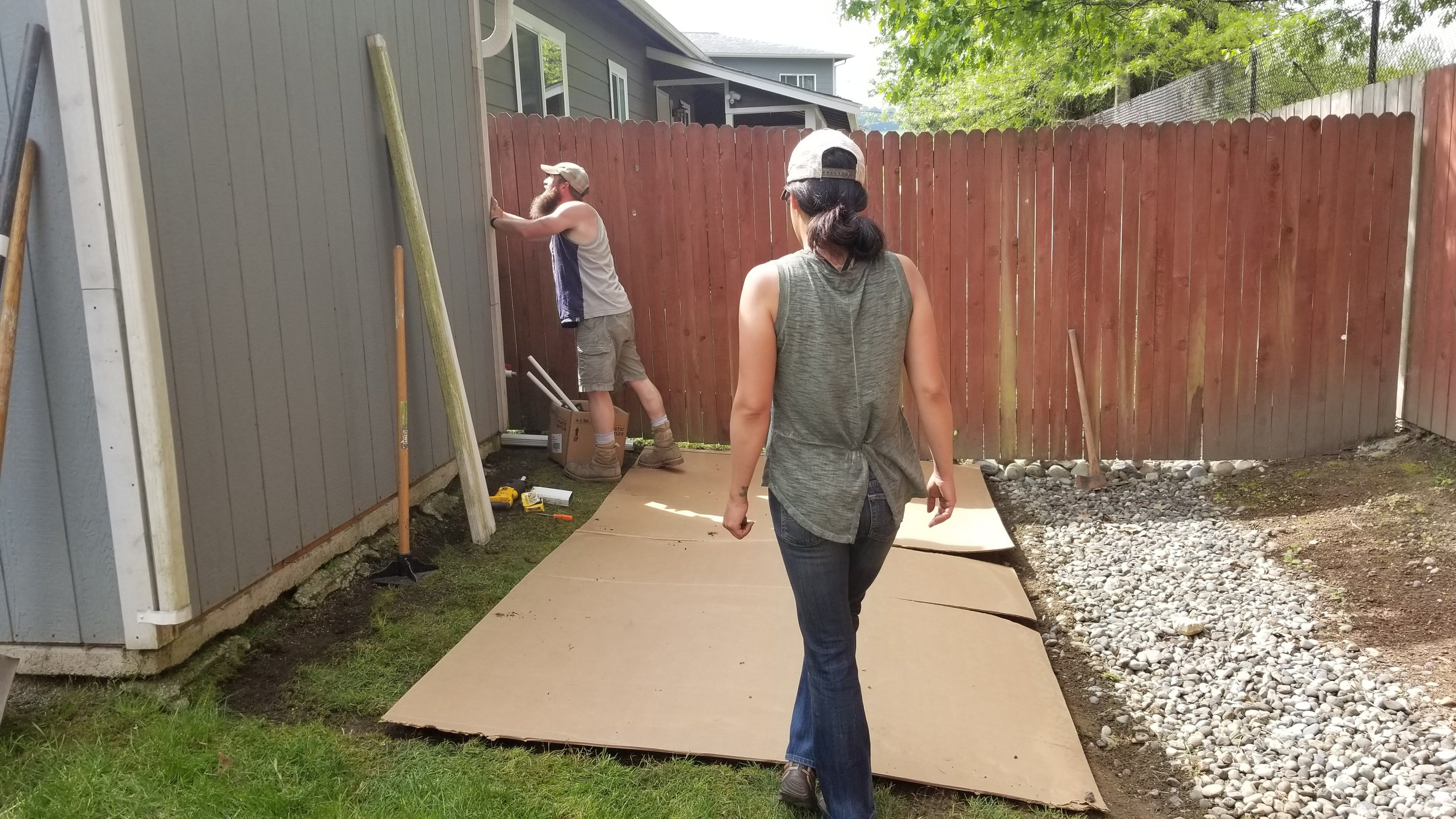 MID-WAY: The Vet Crew places large strips of cardboard across the section to keep the weeds down naturally.