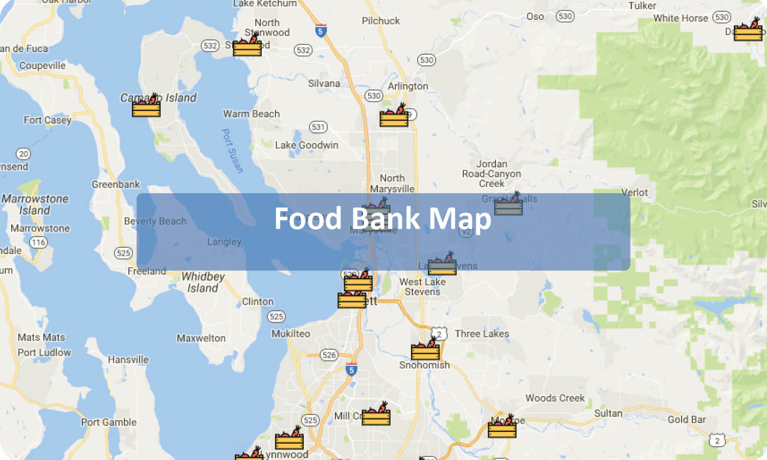 Click the map to load an interactive map with the locations of food banks across our county.