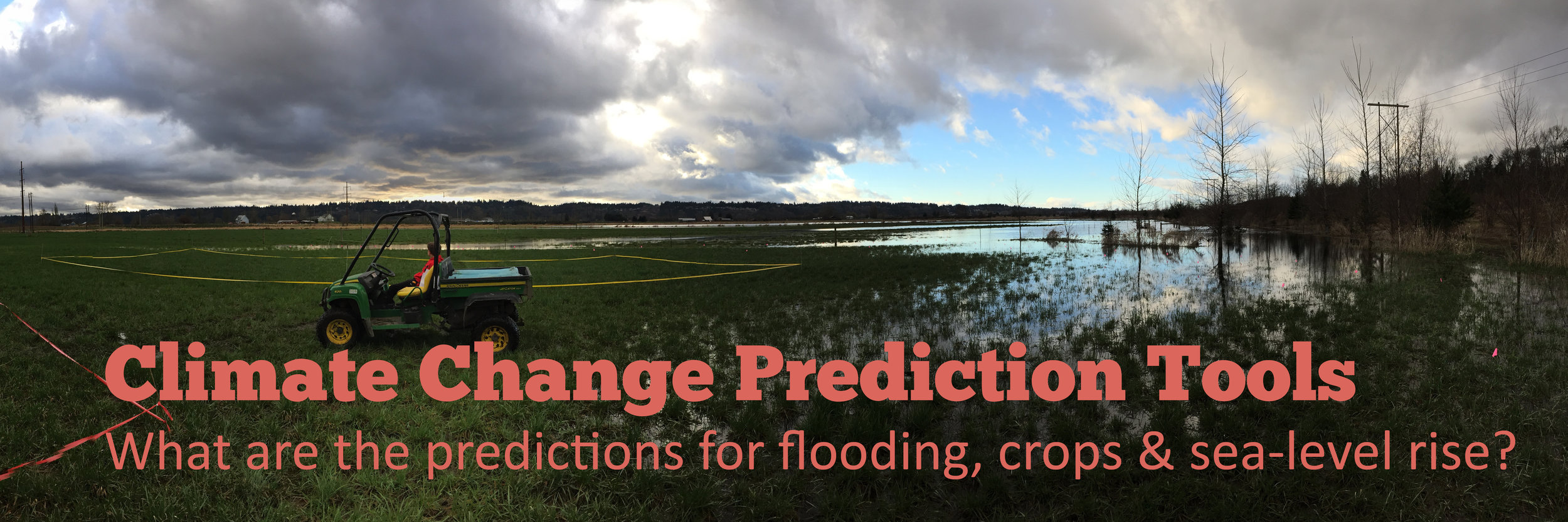 Image: Flooded field. Text: Climate Change Prediction Tools. Link to prediction tools page.