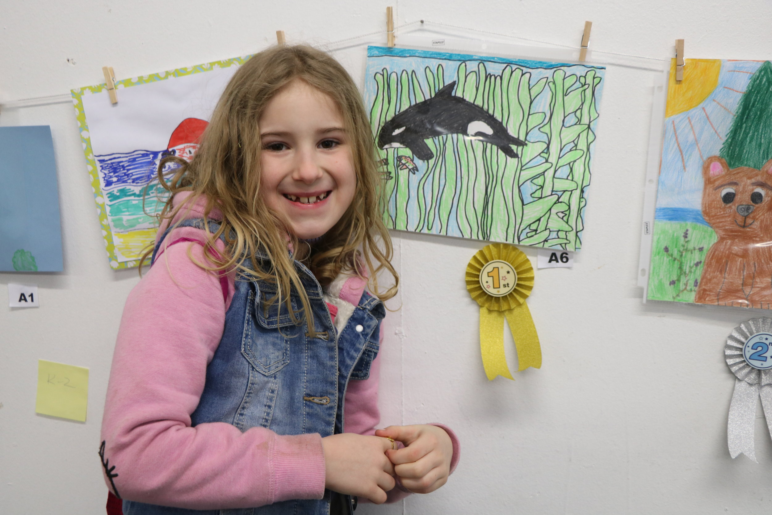 Annalise Buck with her Orca in Kelp piece