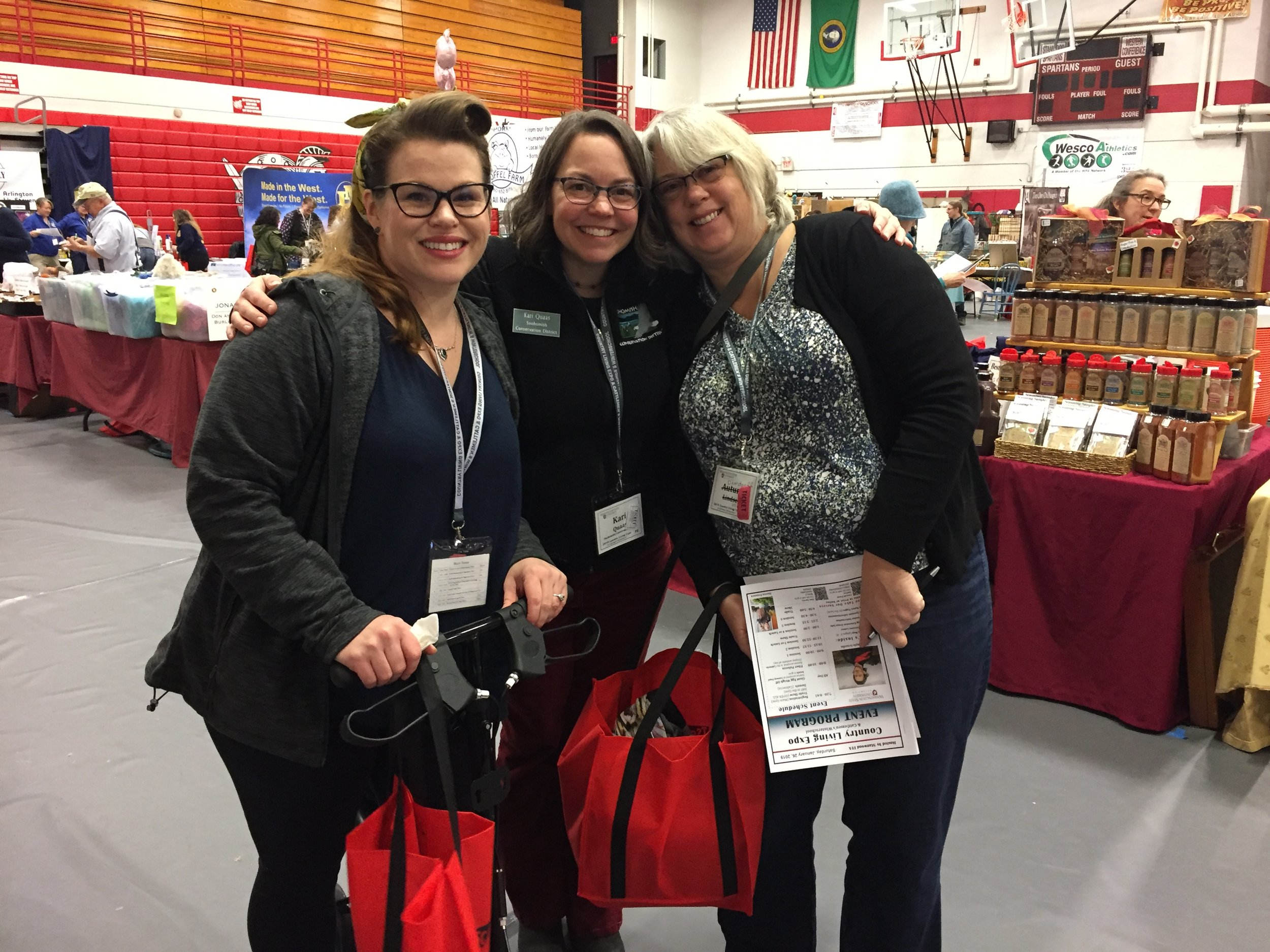 L to R: Mary Fosse, Kari Quaas, Molly Deardorff from Delta and Northwest Neighborhoods at the Country Living Expo in January 2019.