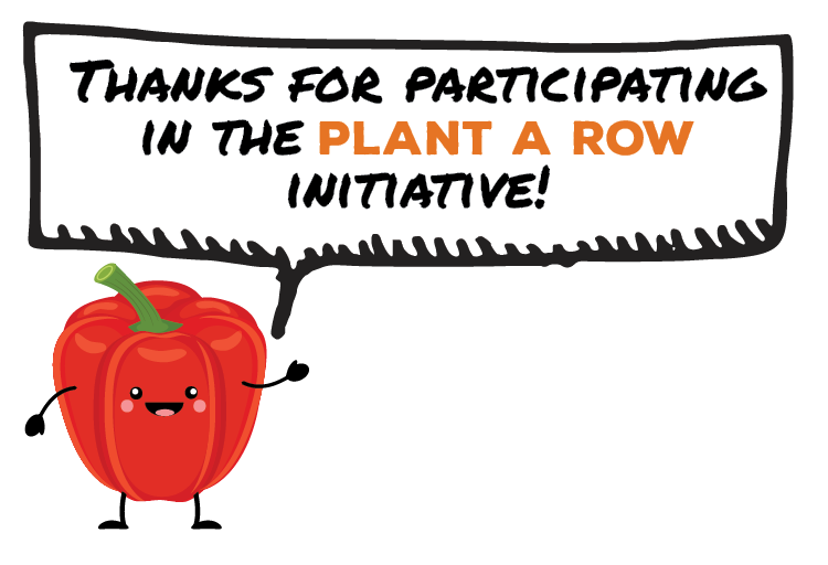 "Cartoon Red Bell Pepper Smiles Happily while Speech Bubble Displays ""Thanks for participating in the Plant A Row initiative"