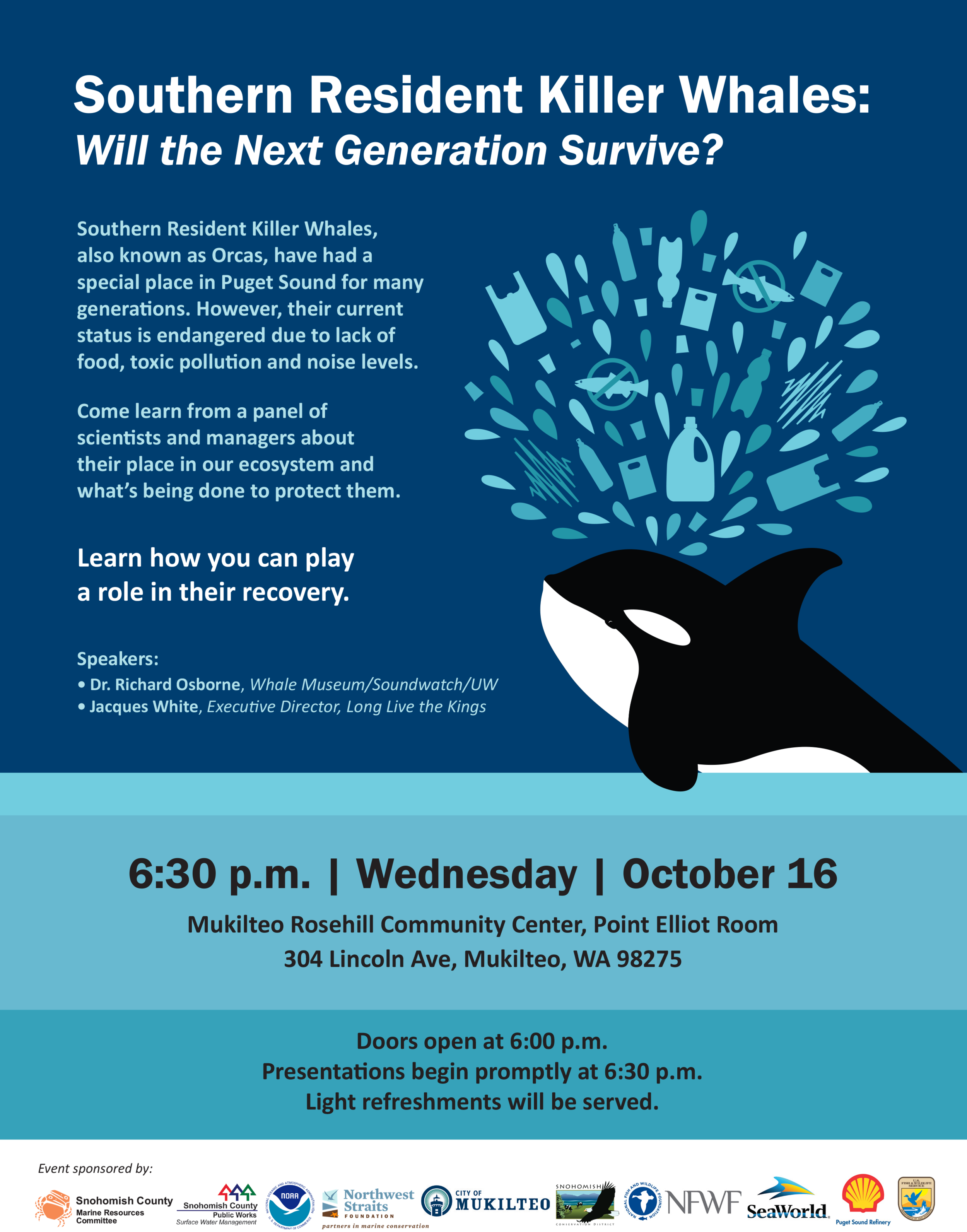 Join us on October 16th at 6:30 p.m. in Mukilteo for an educational talk.