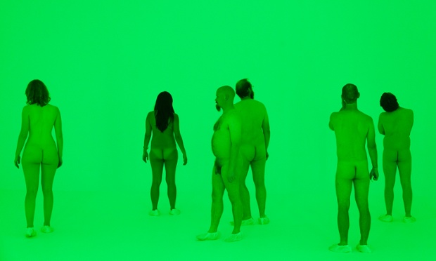 James Turrell's 2014 work Virtuality Squared and participants of Stuart Ringholt's piece: Preceded by a tour of the show by artist Stuart Ringholt, 6-8pm. (The artist will be naked. Those who wish to join the tour must also be naked. Adults only.) 2011-ongoing.    Photograph: Christo Crocker/National Gallery of Australia