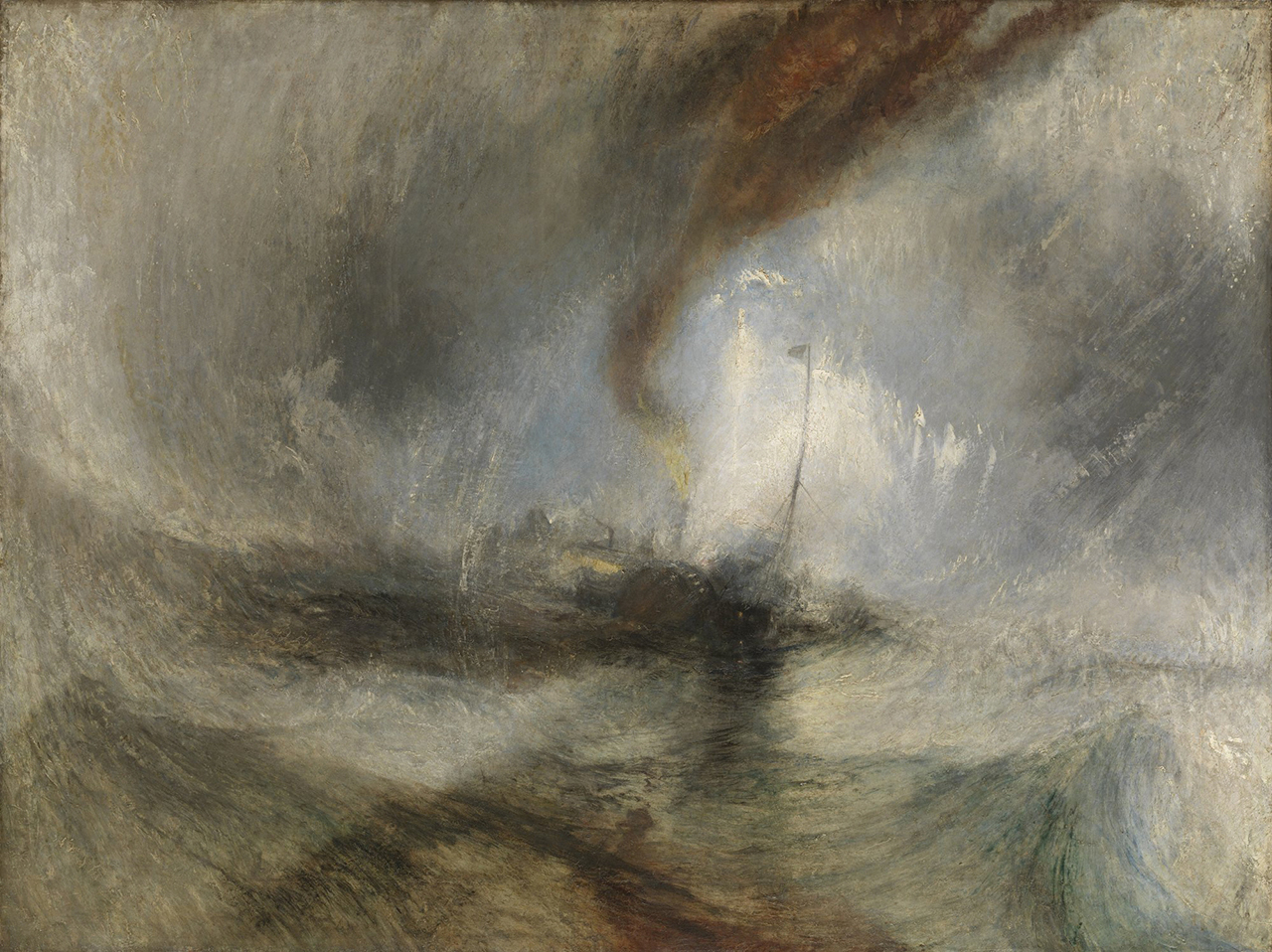 "Joseph Mallord William Turner, ""Snow Storm: Steam-Boat off a Harbour's Mouth"" (exhibited 1842), oil on canvas, (Tate: Accepted by the nation as part of the Turner Bequest 1856) (all images courtesy Getty Museum)"