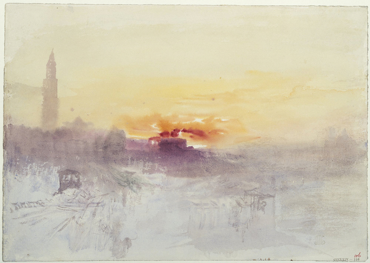 "J.M.W. Turner, ""Venice at Sunrise from the Hotel Europa, with Campanile of San Marco"" (c. 1840), watercolor (Tate: Accepted by the nation as part of the Turner Bequest 1856 Photo © Tate, London 2014)"