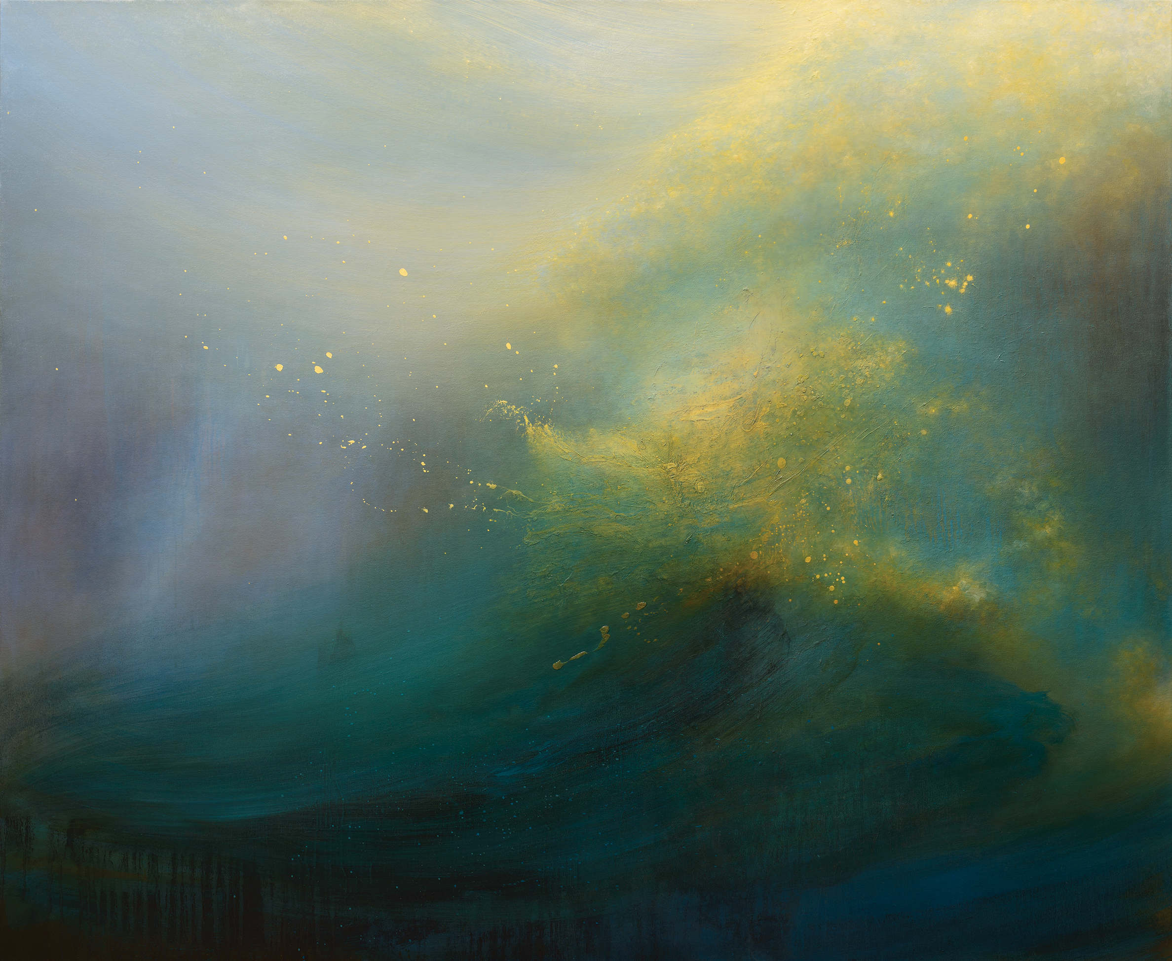 HARBINGER  2014 OIL AND VARNISH ON CANVAS 64 X 78 INCHES