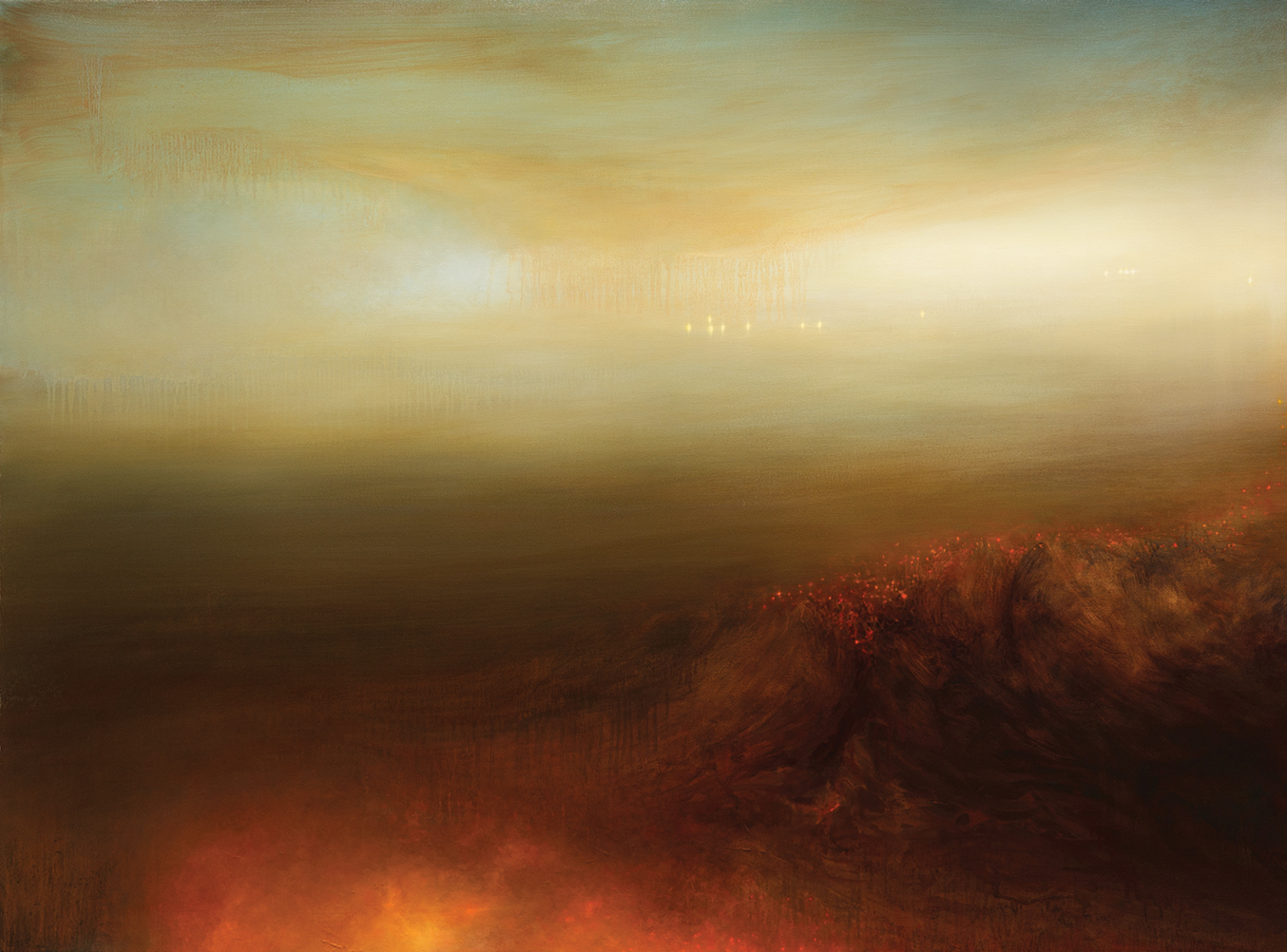 EBB  2012 OIL AND VARNISH ON CANVAS 52 X 70 INCHES