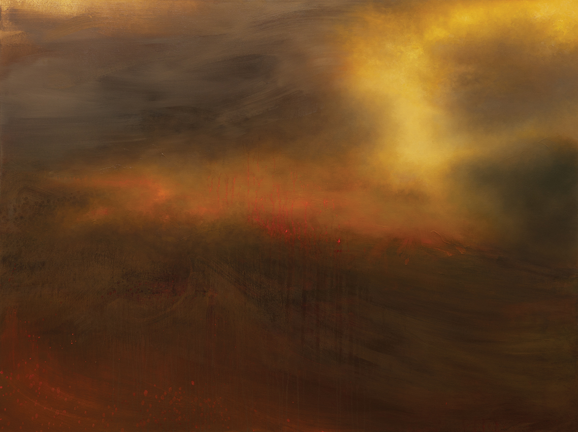STRAY  2014 OIL AND VARNISH ON CANVAS 48 X 64 INCHES