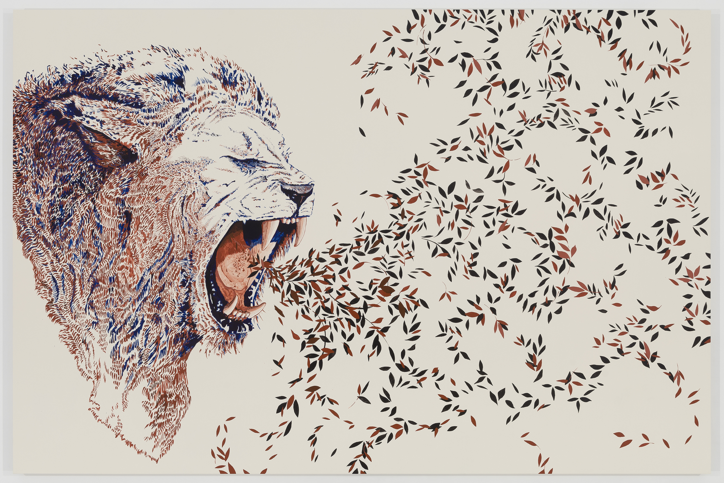 THE CATHARTIC LION  2014 ACRYLIC ON PANEL 60 X 90 INCHES