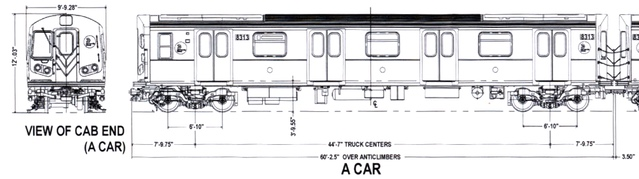 Exterior schematics for the Kawasaki / Alstom R160B train car via nycsubway.org