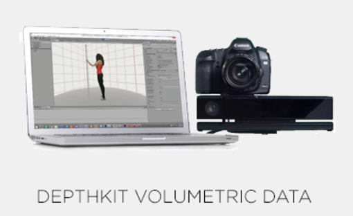 """[Volumetric data capture]   Using a 3D motion-capture software (DepthKit http://www.depthkit.tv), it would be possible to focus not only on the subjects themselves but also add visual features to amplify the three-dimensional effect and serve as a layer within the virtual environment. The volumetric data will be used to illustrate the voiceovers, or serve as """"Digital B-roll"""" to visualize parts of the testimonies in a three dimensional way."""