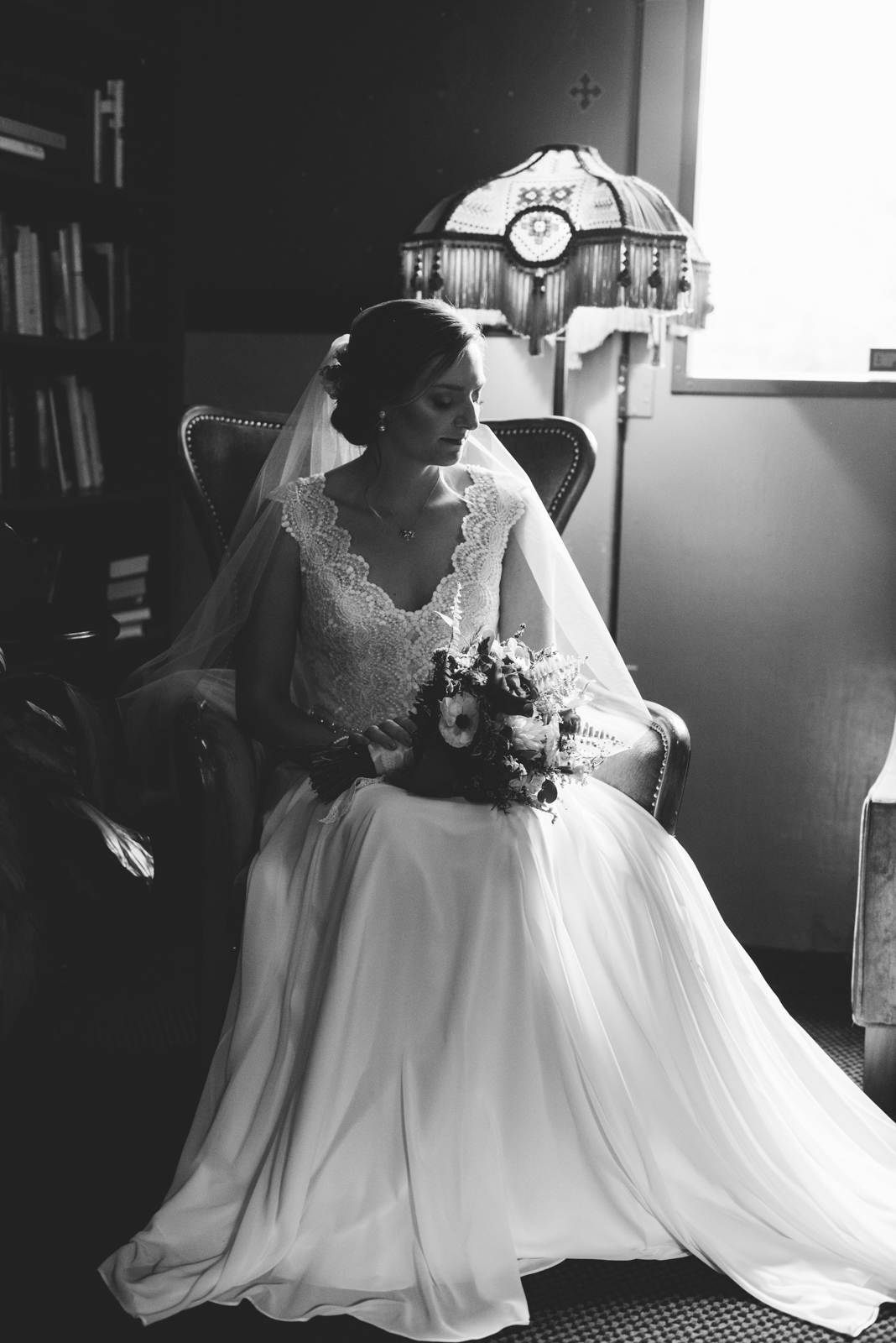 Bridal portrait at Edgefield in beautiful library