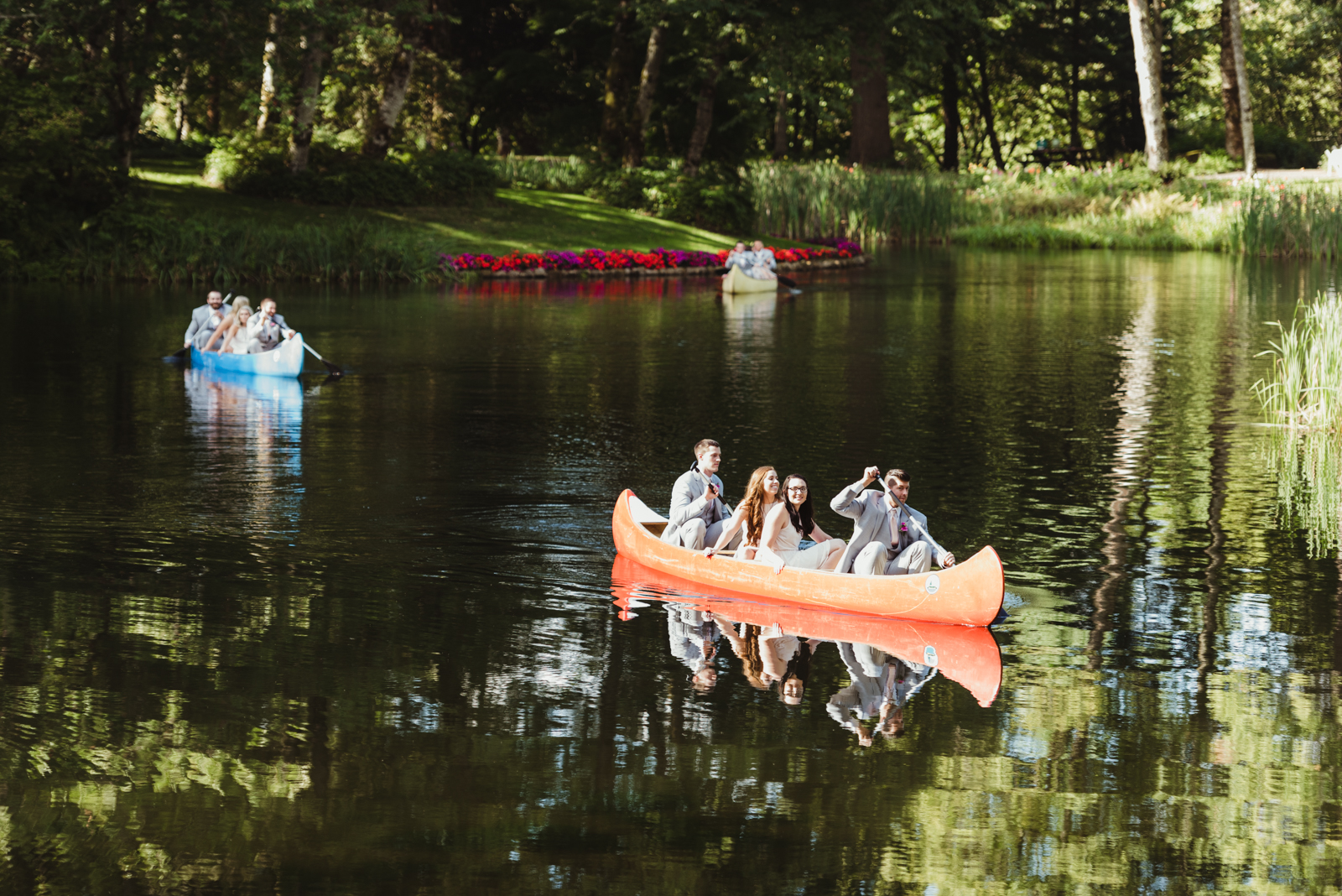 Bridal party arrives by canoe