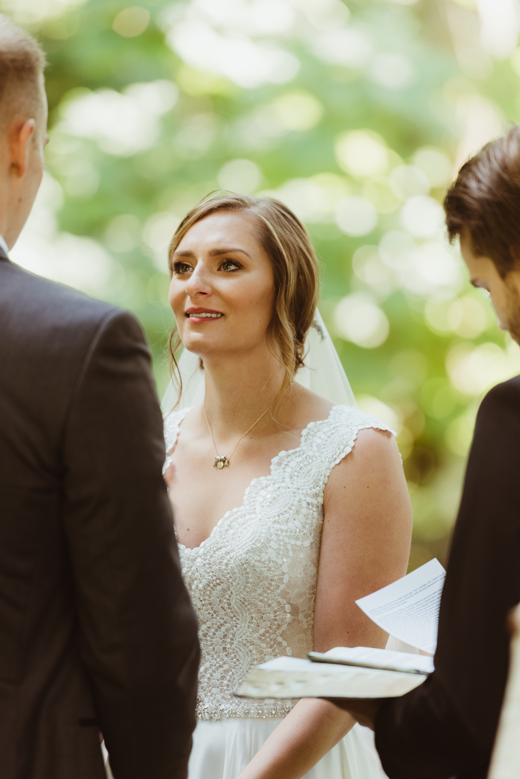 Emotional bride during wedding ceremony