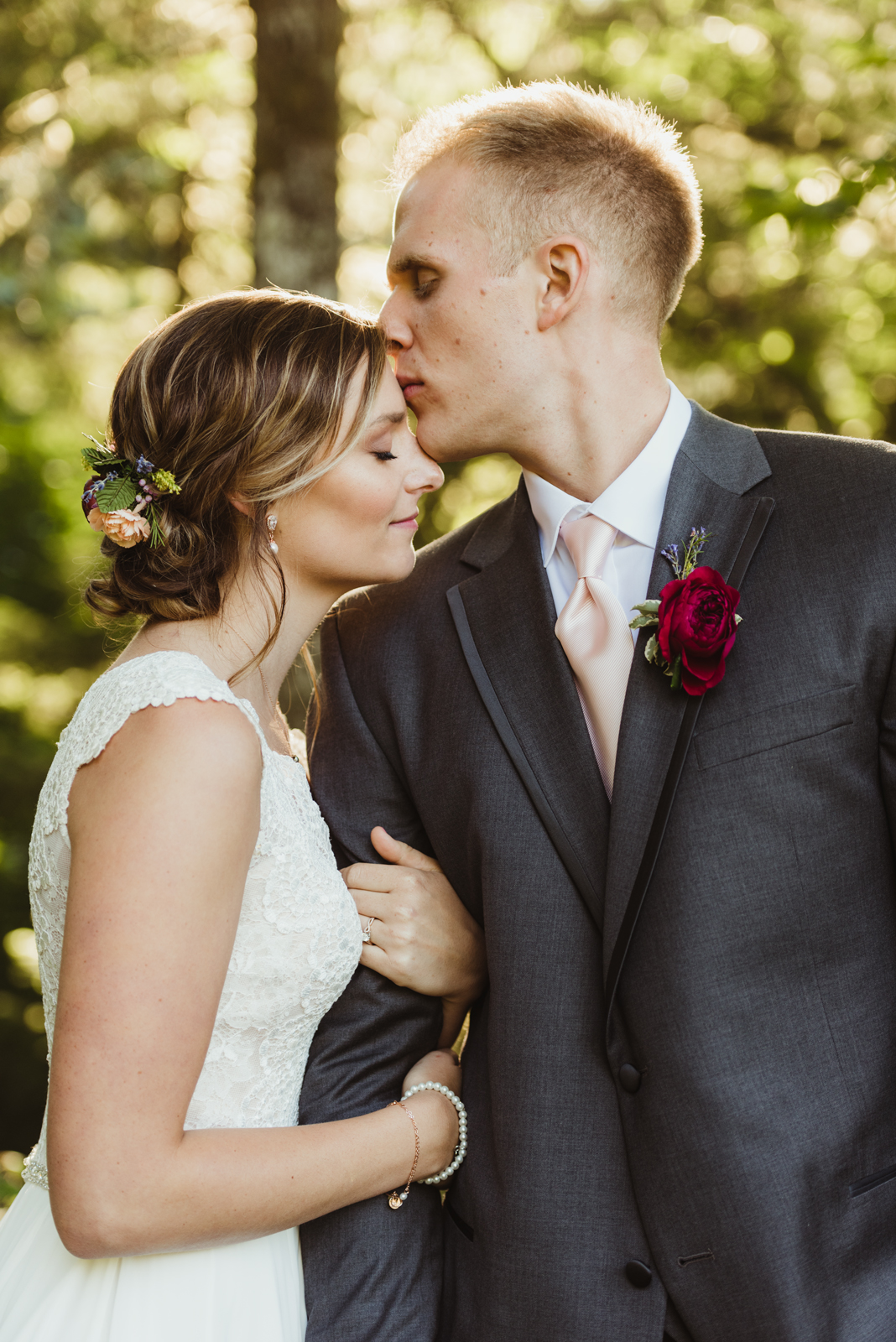 Beautiful back lit bride and groom portrait