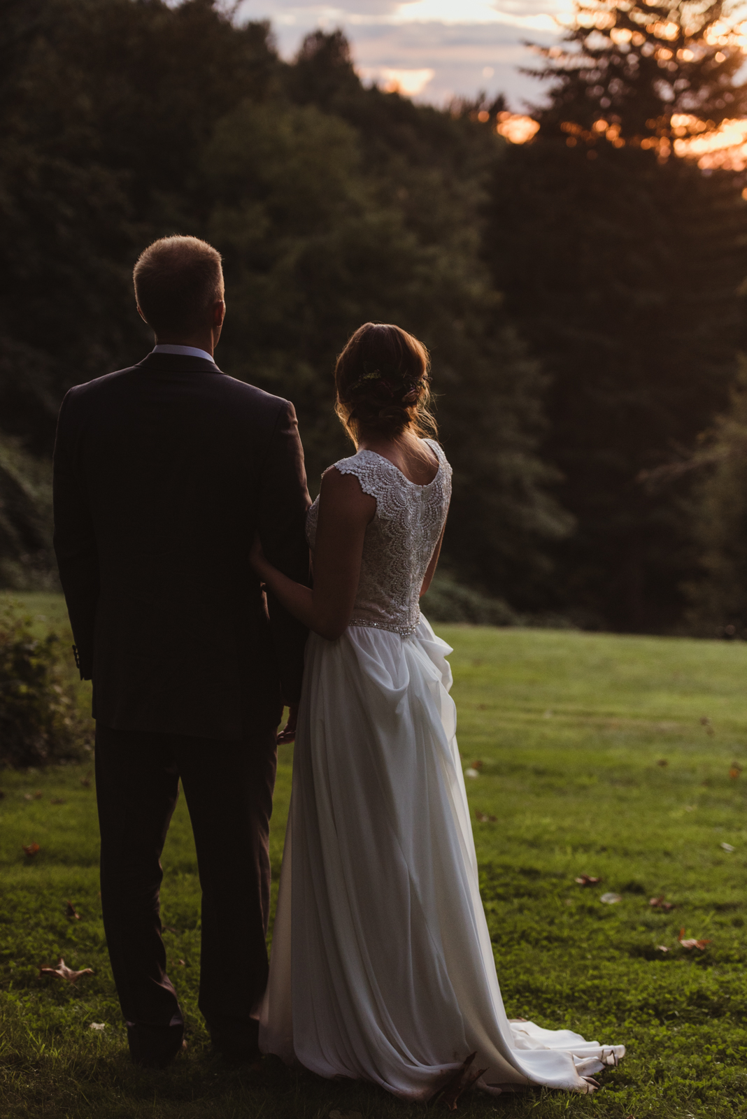 Bride and groom sunset portrait in the gorge