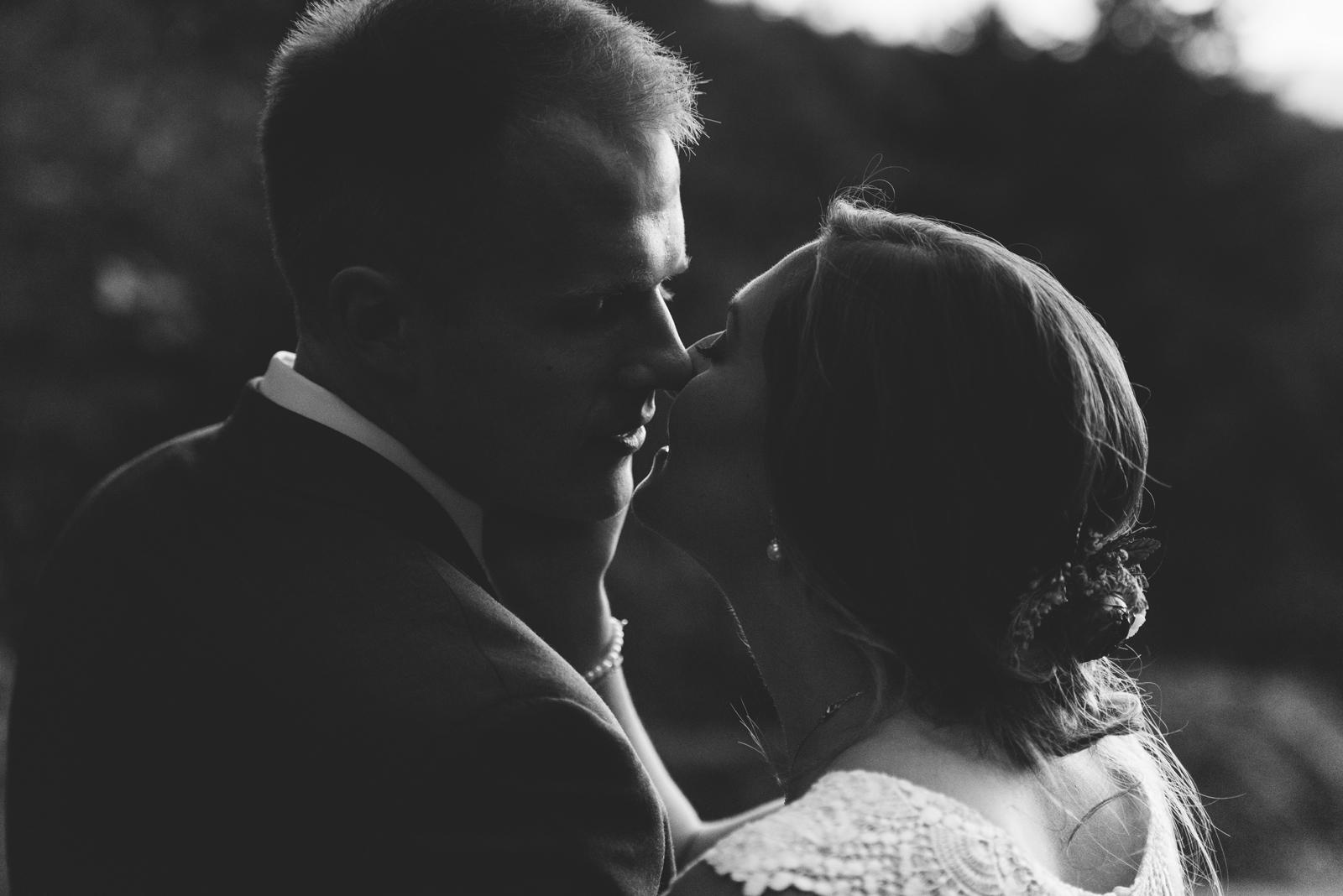 black and white kiss portrait