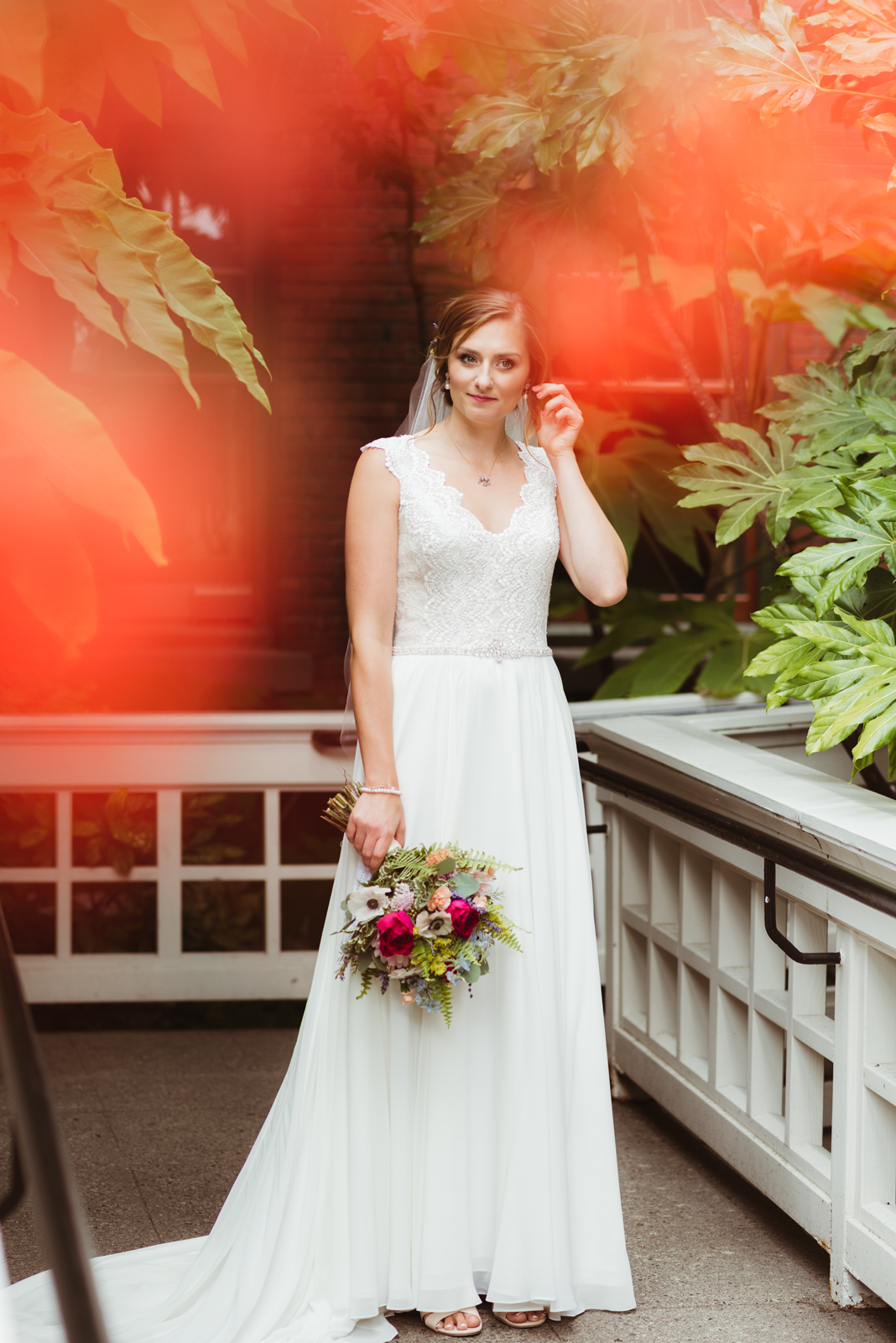 Beautiful bridal portrait with flowers