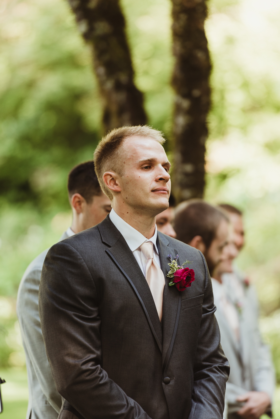 Groom waiting for his bride during ceremony