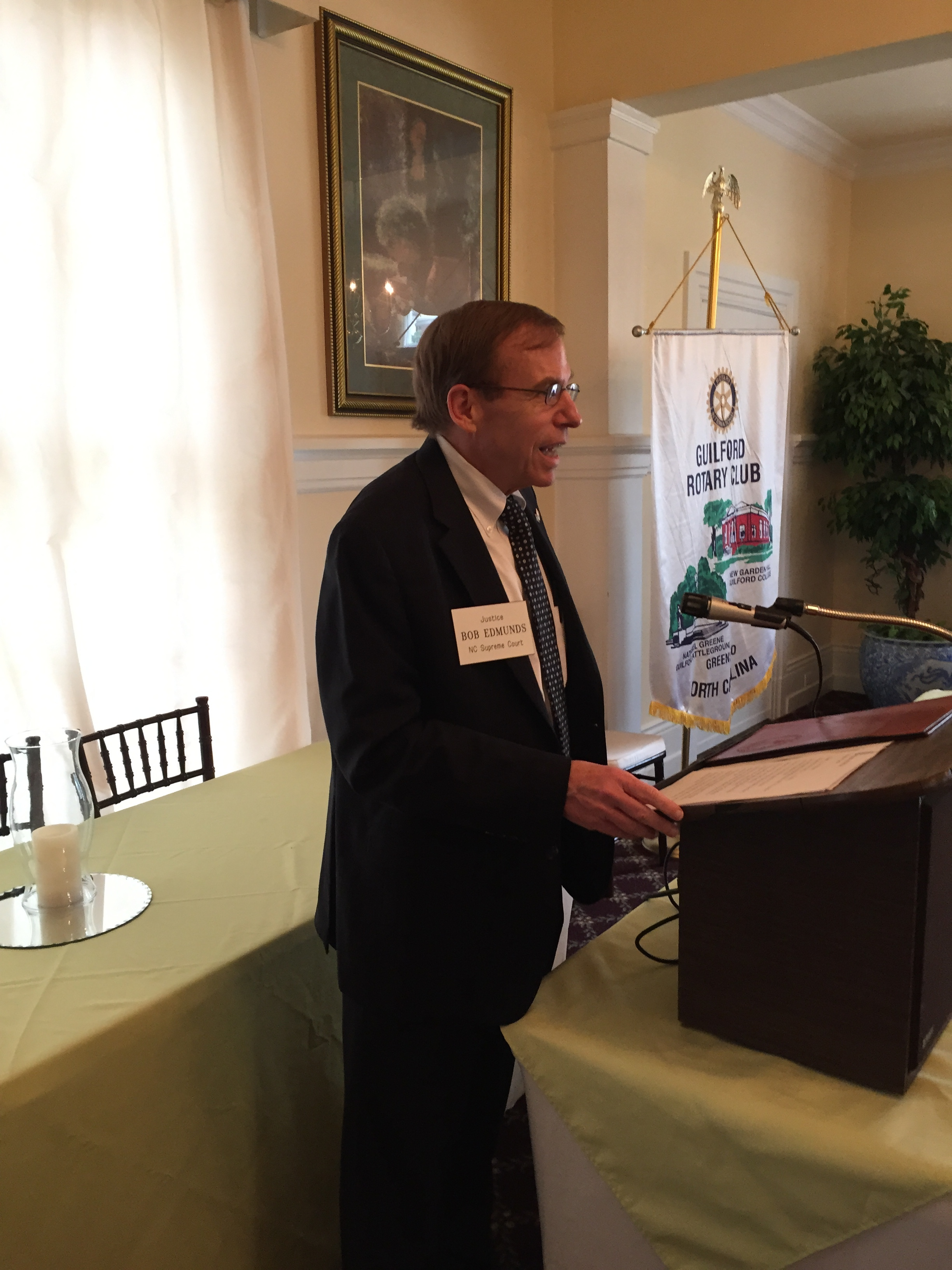 Justice Edmunds addresses Guilford Rotary, Greensboro, 22 September 2015.