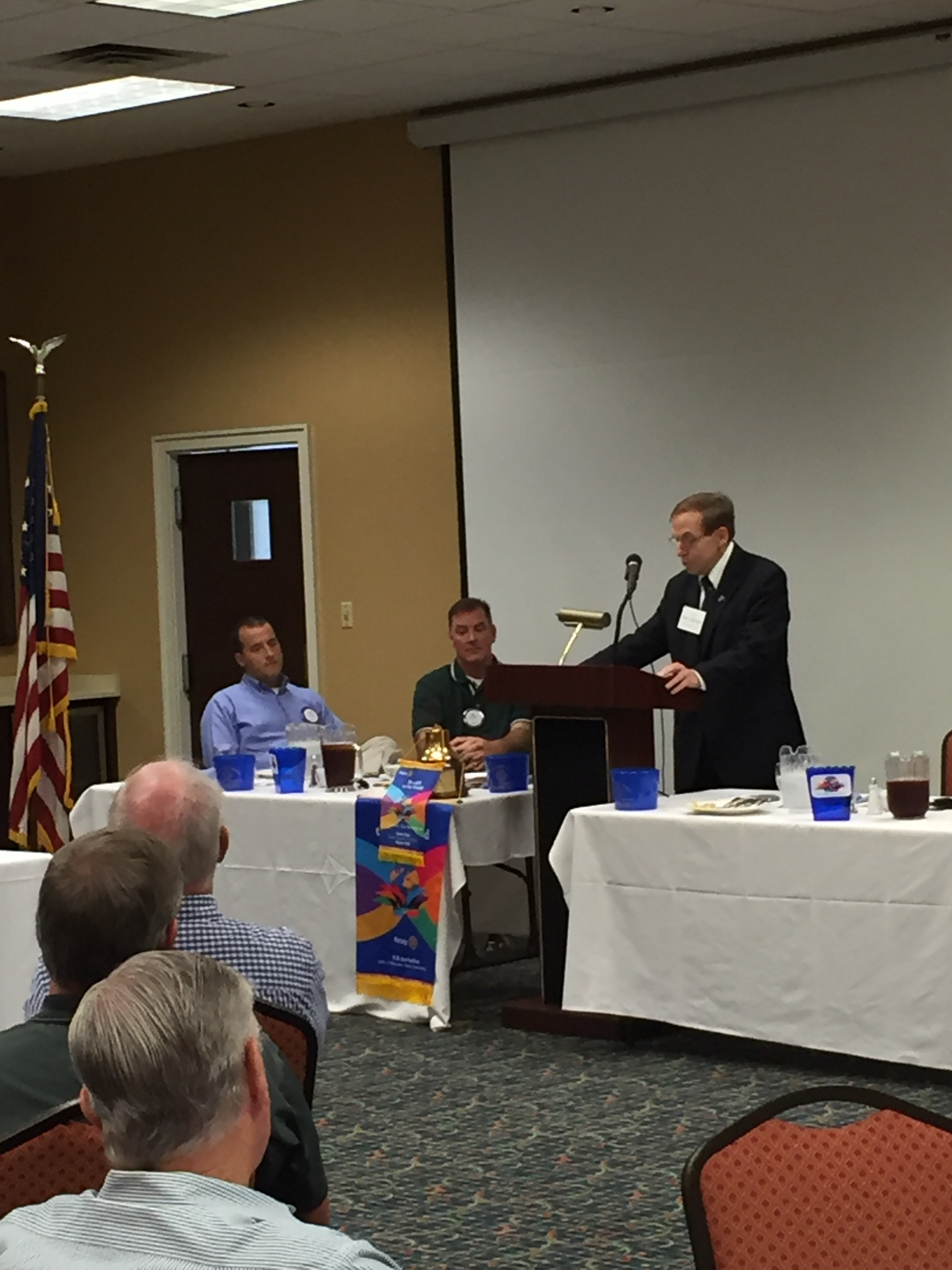 Justice Edmunds addresses Crescent Rotary Club in Greensboro, 12 October 2015.
