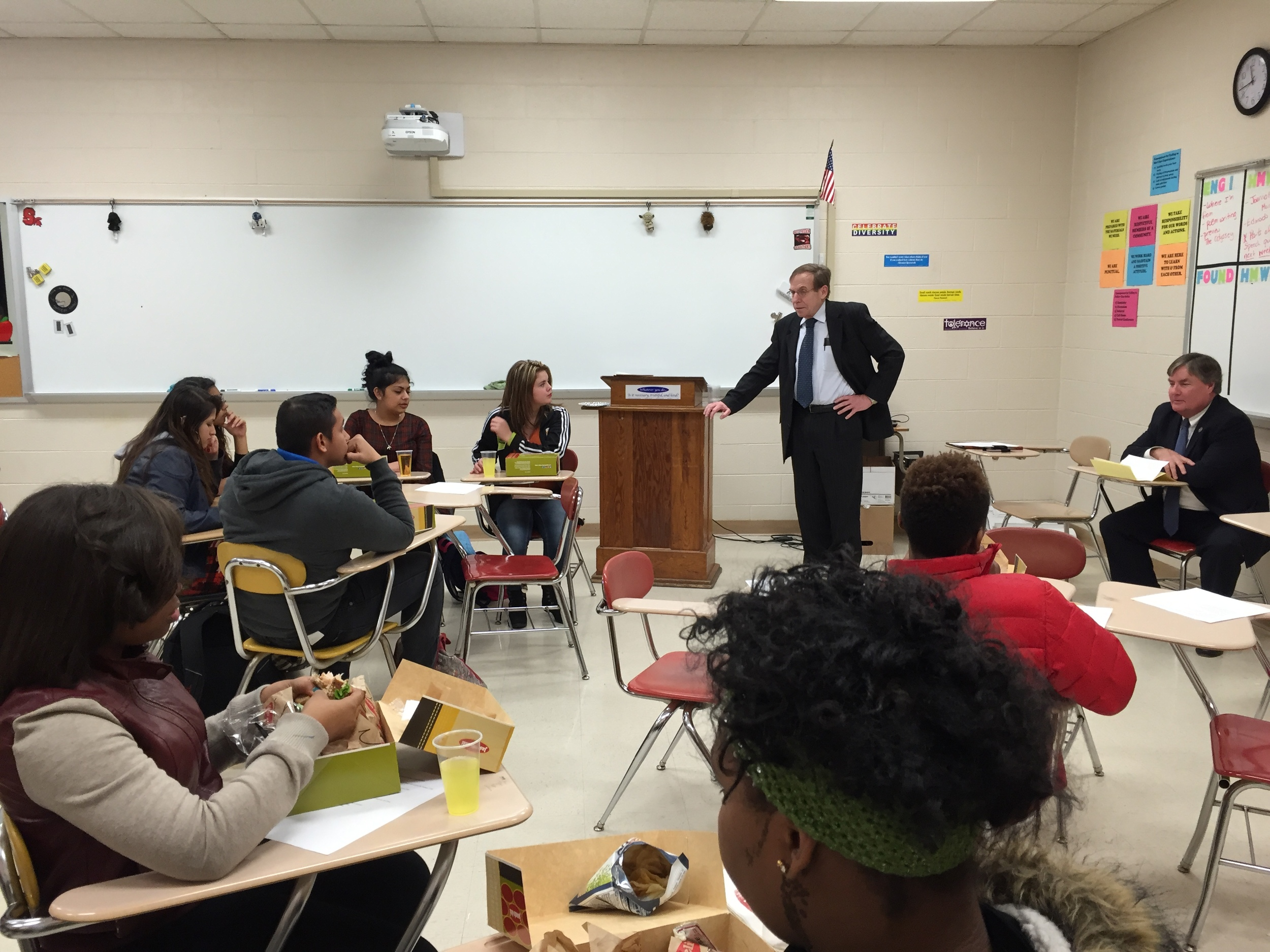 Discussing civics and leadership with students at Durham's Southern High School, 29 January 2016.