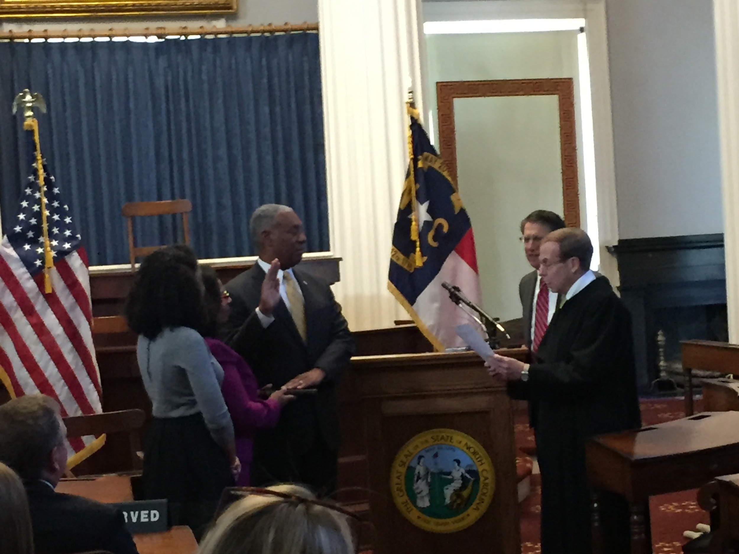 Justice Edmunds administers oath of office to General Cornell Wilson, Secretary of Military and Veterans Affairs, 20 October 2015.