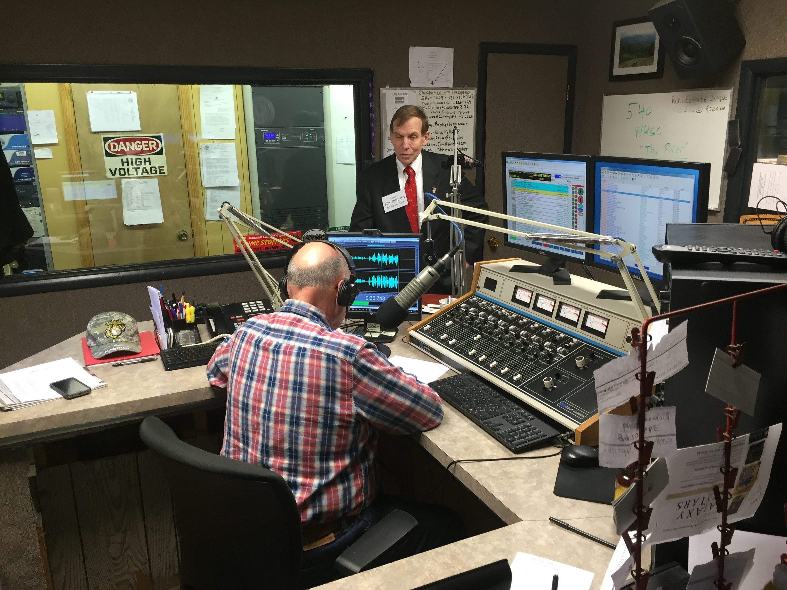 Conducting a radio interview in Sylva, NC, 20 February 2016.