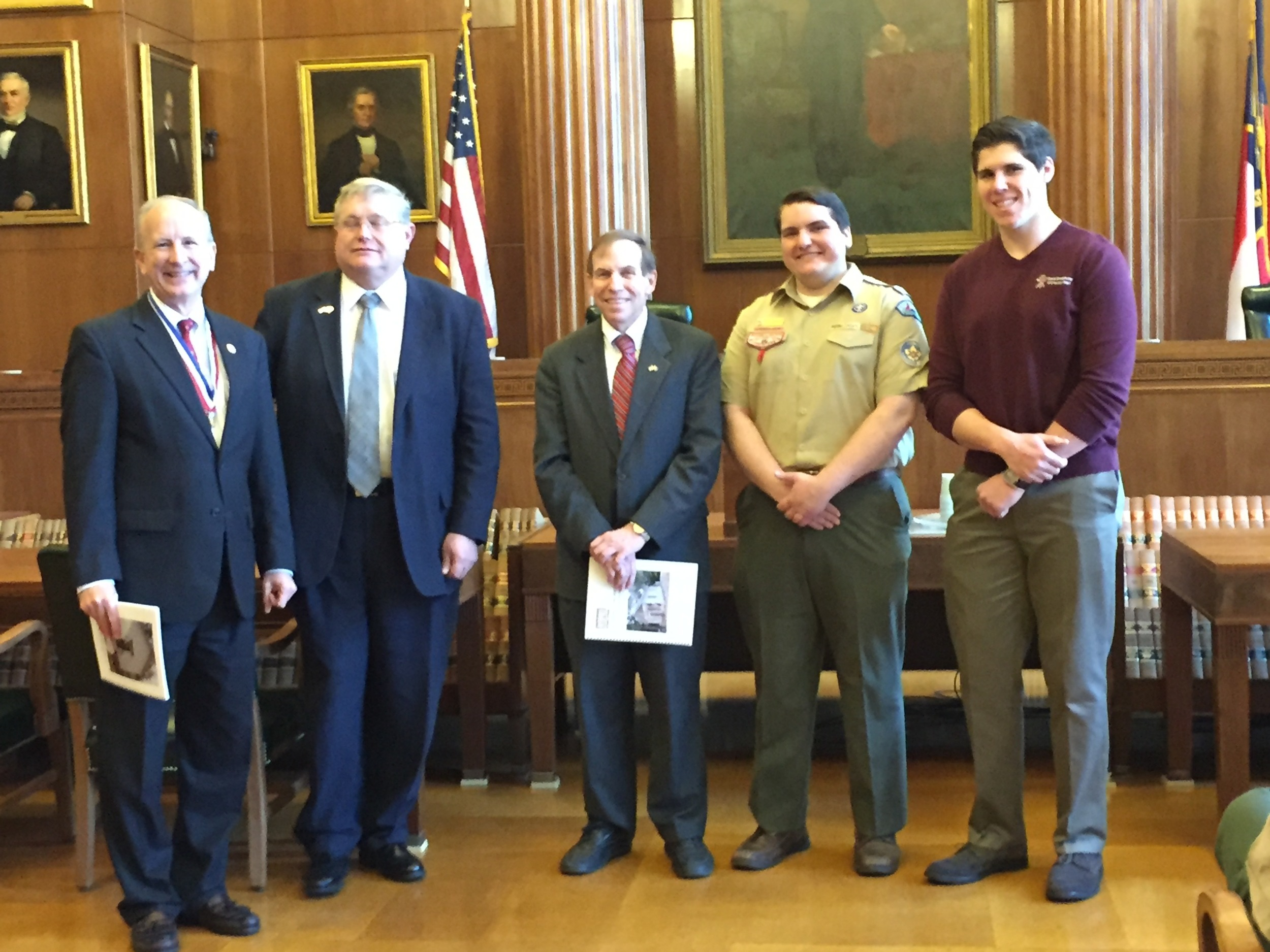Addressing Boy Scouts and receiving copy of Annual Report to Governor, February 29, 2016.